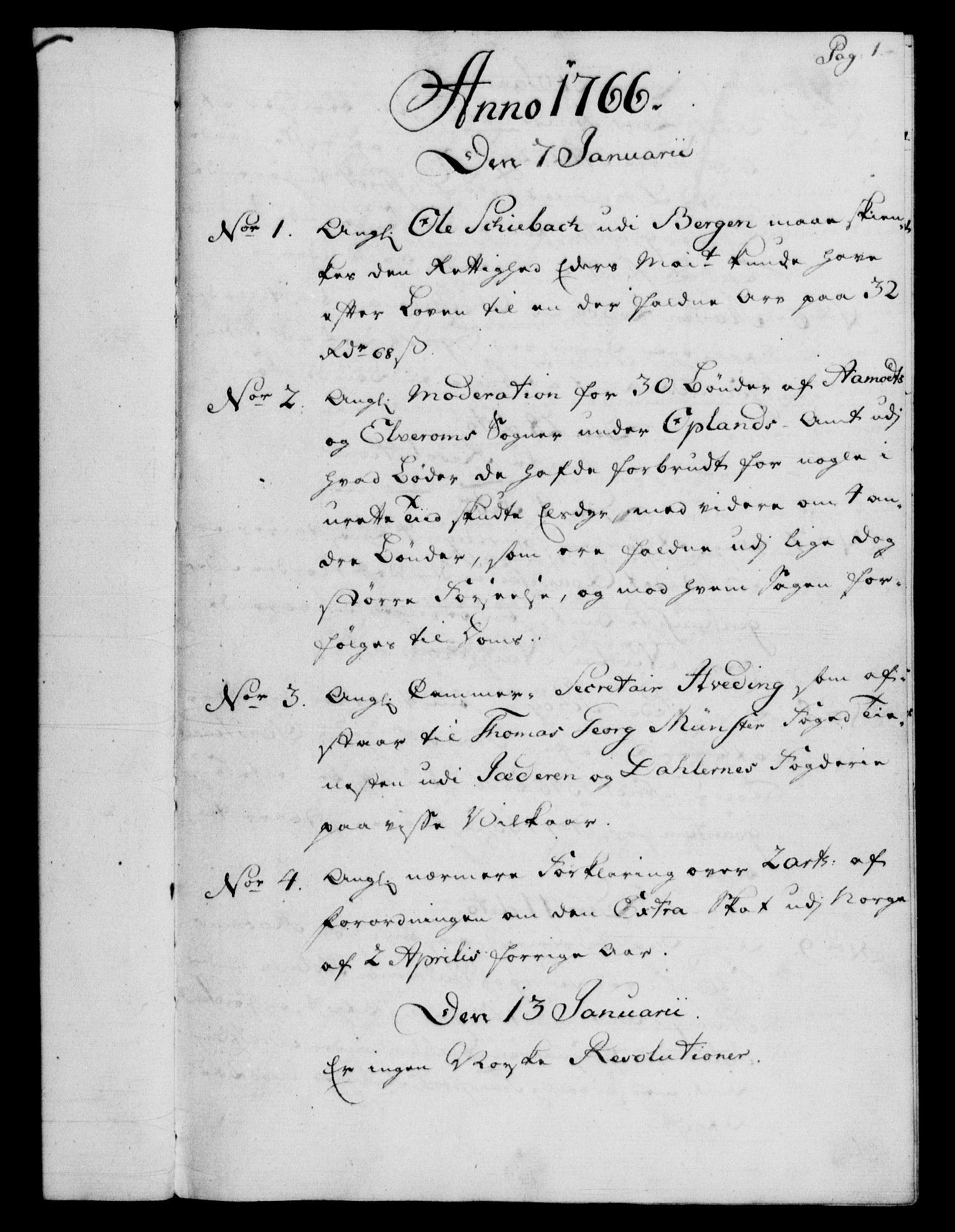 RA, Rentekammeret, Kammerkanselliet, G/Gf/Gfb/L0008: Register til norske relasjons- og resolusjonsprotokoller (merket RK 52.103), 1766-1771, s. 1