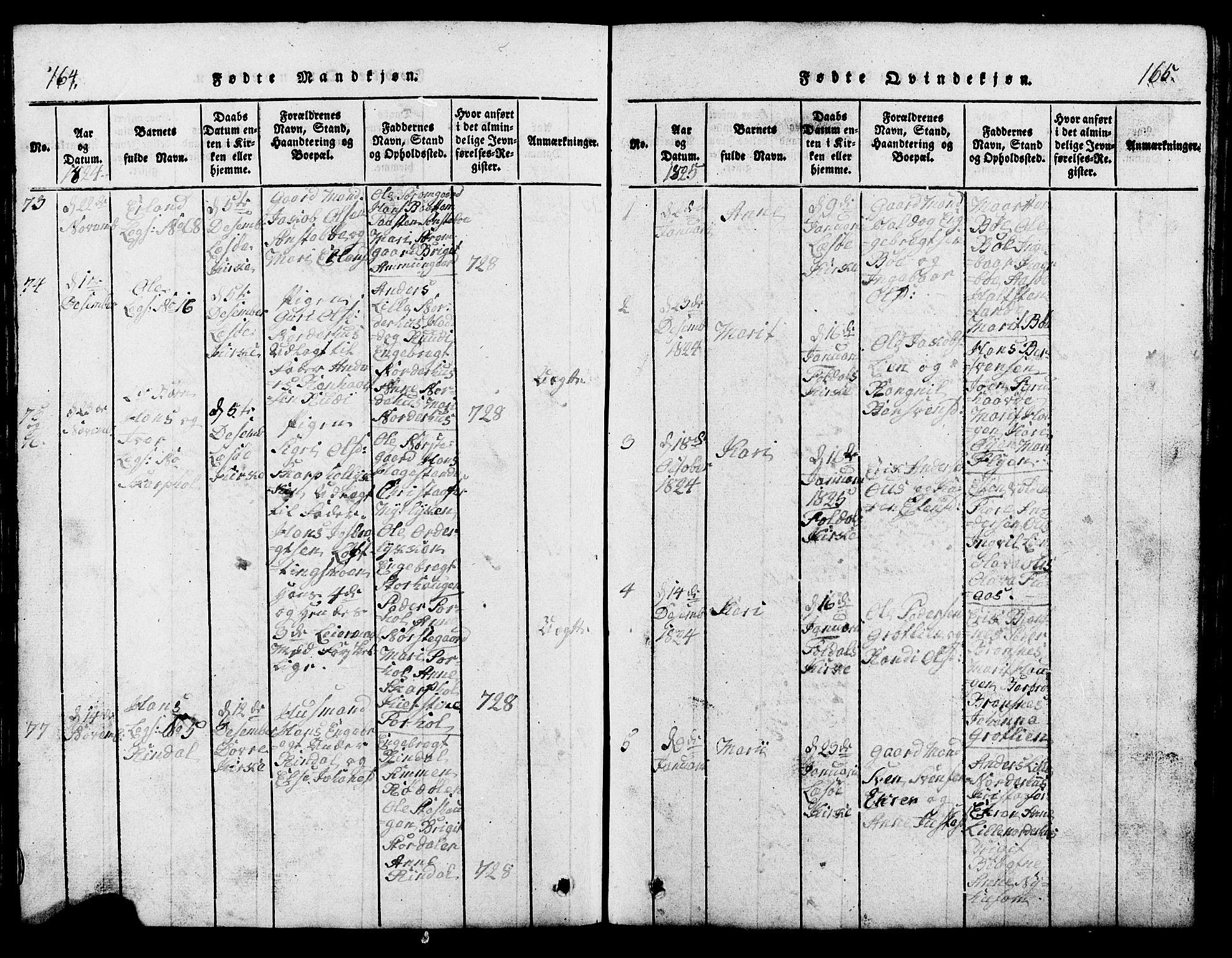 SAH, Lesja prestekontor, Klokkerbok nr. 1, 1820-1831, s. 164-165