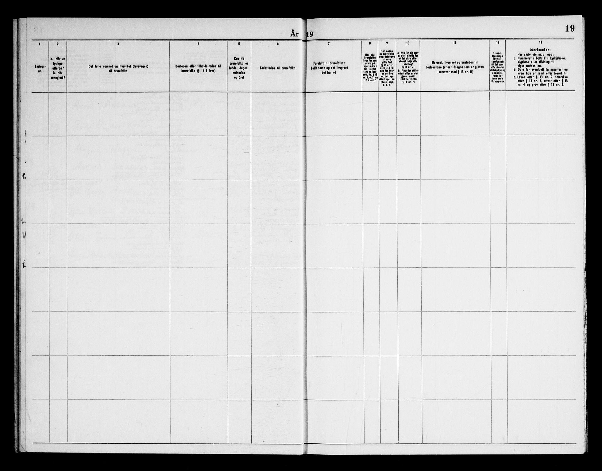 SAKO, Bø kirkebøker, H/Ha/L0002: Lysningsprotokoll nr. 2, 1964-1969, s. 19