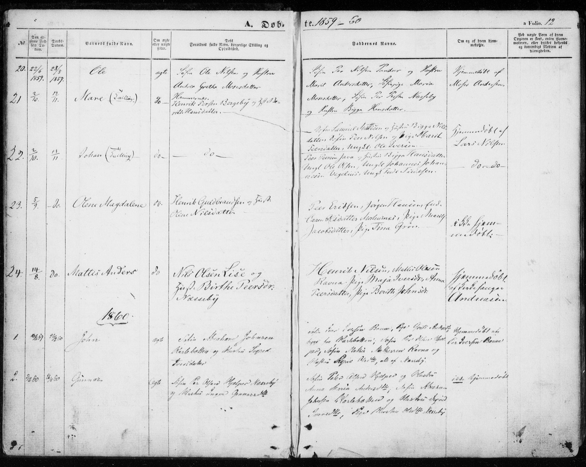 SATØ, Nesseby sokneprestkontor, H/Ha/L0002kirke: Ministerialbok nr. 2, 1856-1864, s. 12