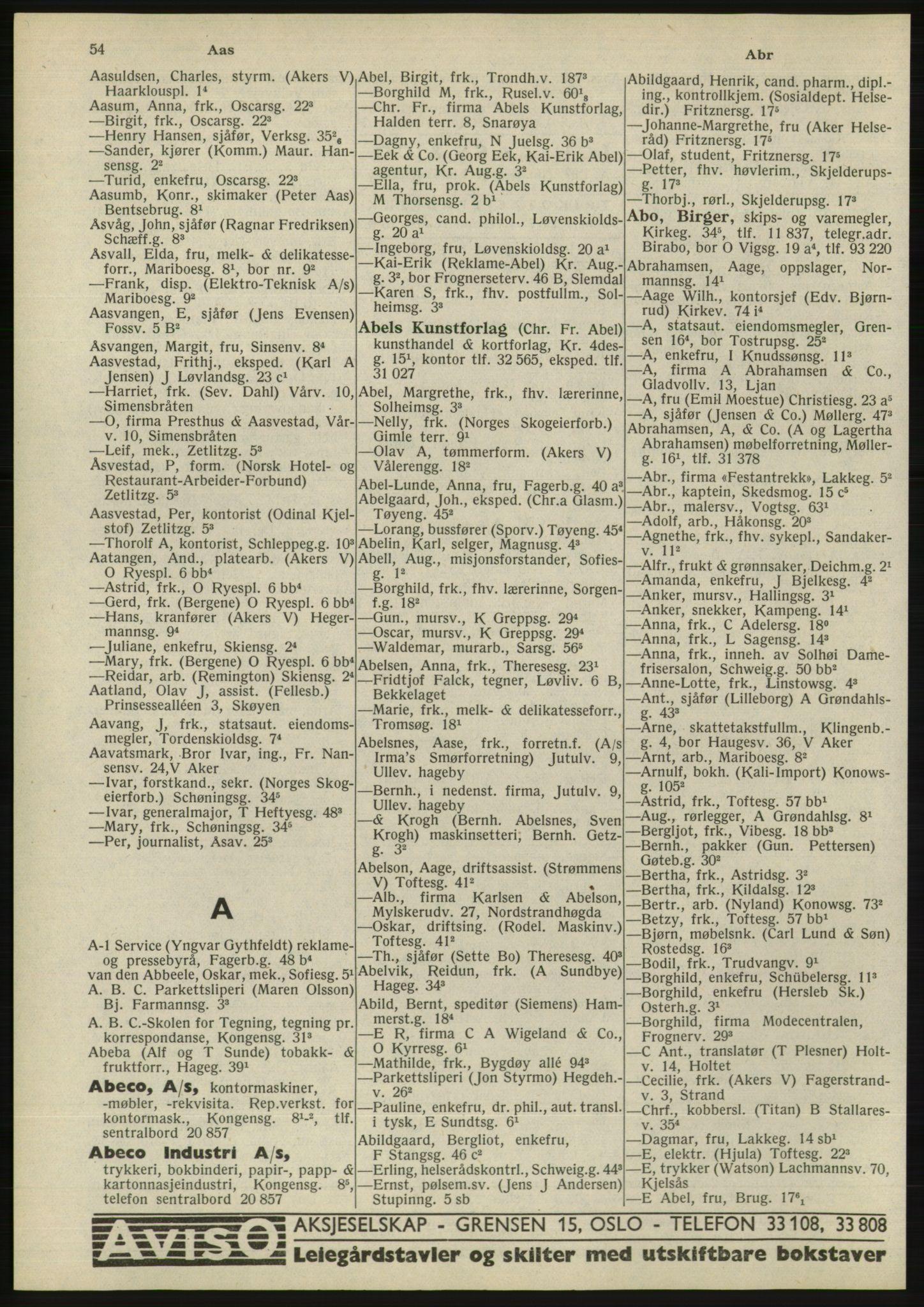 RA, Oslo adressebok (publikasjon)*, 1945, s. 54