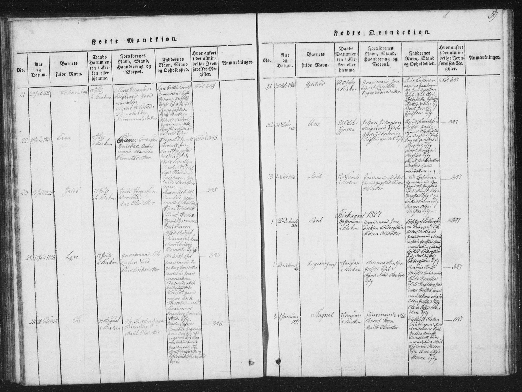 SAT, Ministerialprotokoller, klokkerbøker og fødselsregistre - Sør-Trøndelag, 672/L0862: Klokkerbok nr. 672C01, 1816-1831, s. 59