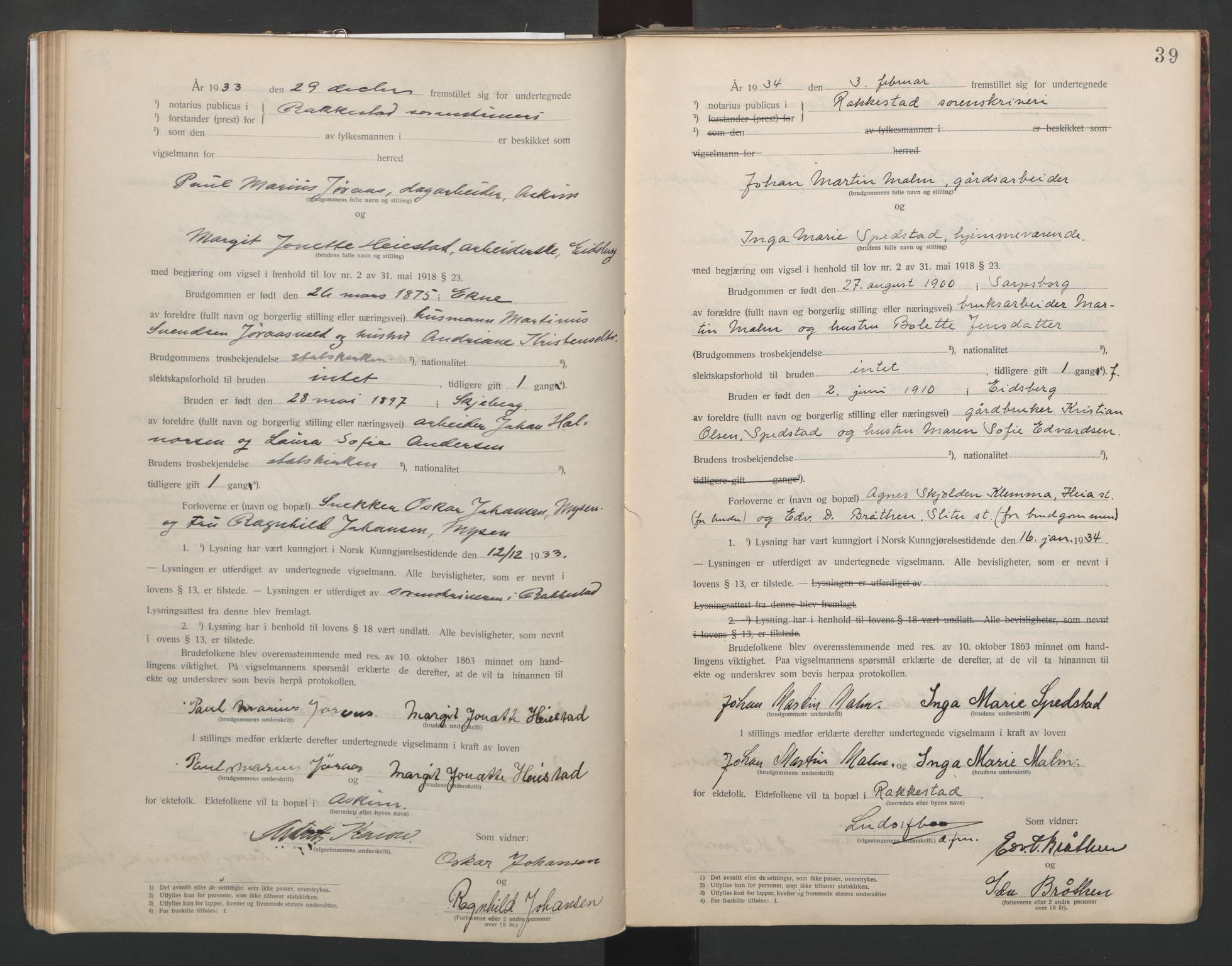 SAO, Rakkestad sorenskriveri, L/Lc/Lca/L0001: Vigselbøker, 1920-1942, s. 39