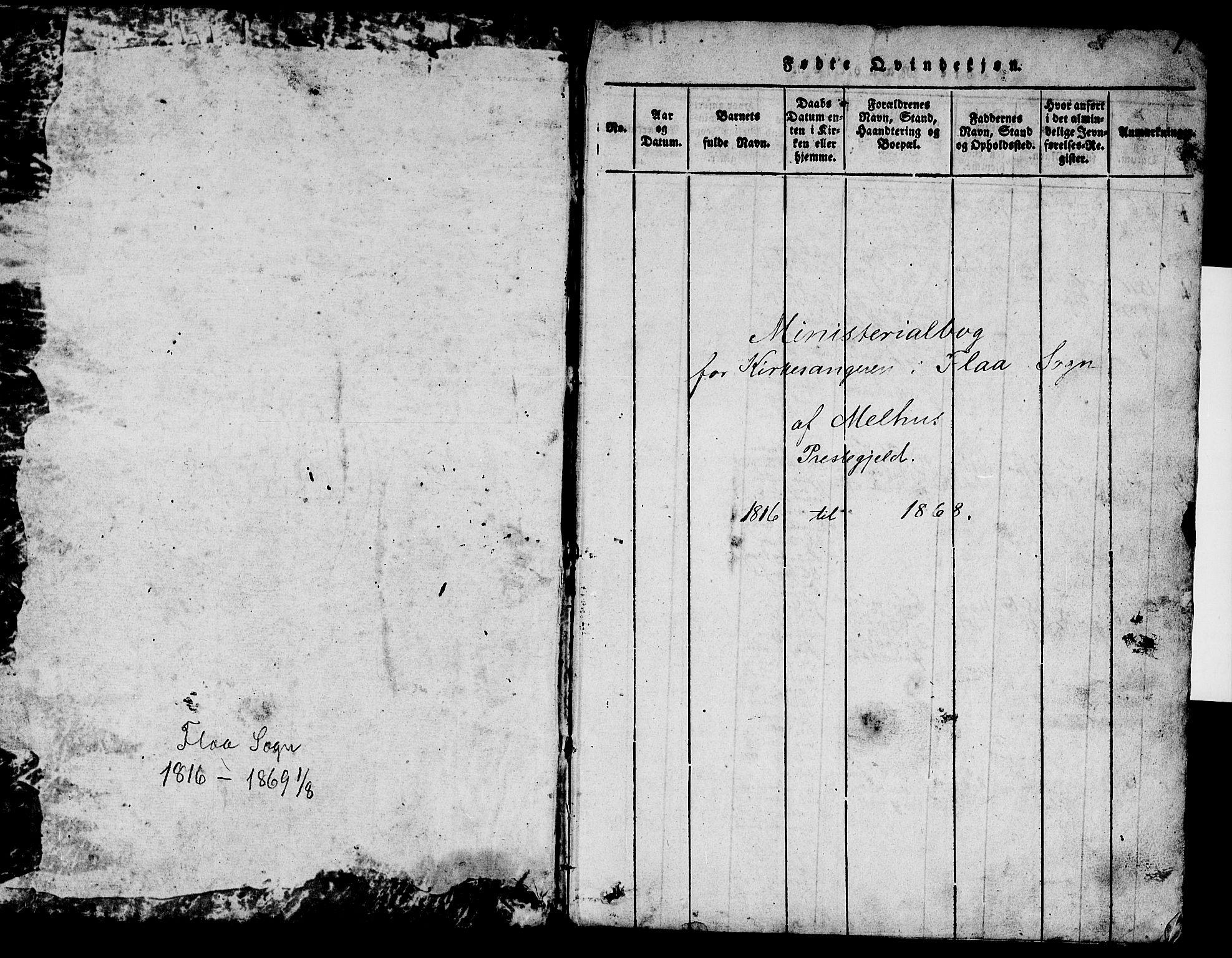 SAT, Ministerialprotokoller, klokkerbøker og fødselsregistre - Sør-Trøndelag, 693/L1121: Klokkerbok nr. 693C02, 1816-1869, s. 1