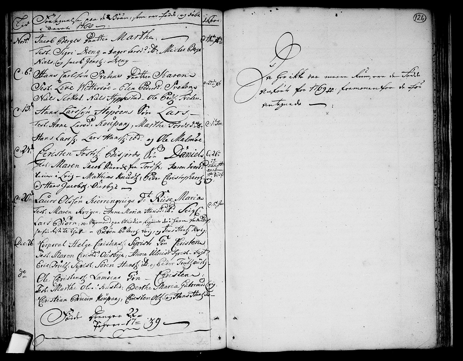 SAKO, Tjølling kirkebøker, F/Fa/L0003: Ministerialbok nr. 3, 1735-1778, s. 126