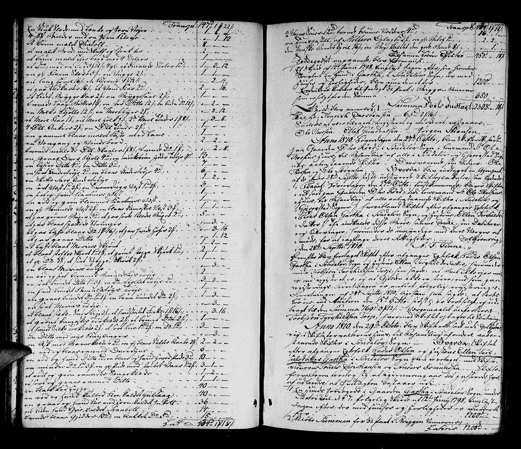 SAK, Nedenes sorenskriveri før 1824, H/Hc/L0053: Skifteprotokoll med register nr 38, 1807-1812, s. 69b-70a