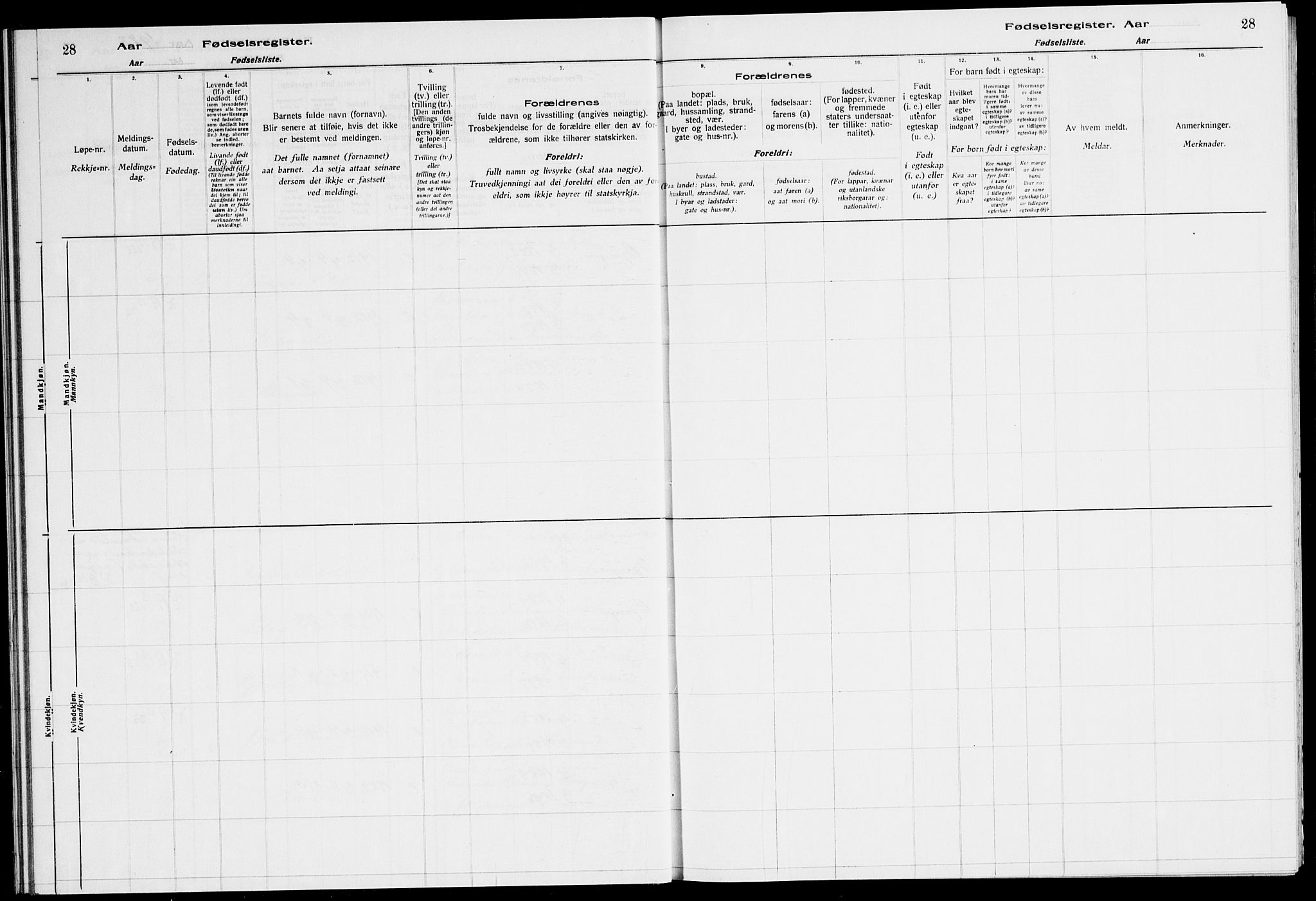 SAT, Ministerialprotokoller, klokkerbøker og fødselsregistre - Sør-Trøndelag, 651/L0650: Fødselsregister nr. 651.II.4.1, 1916-1923, s. 28