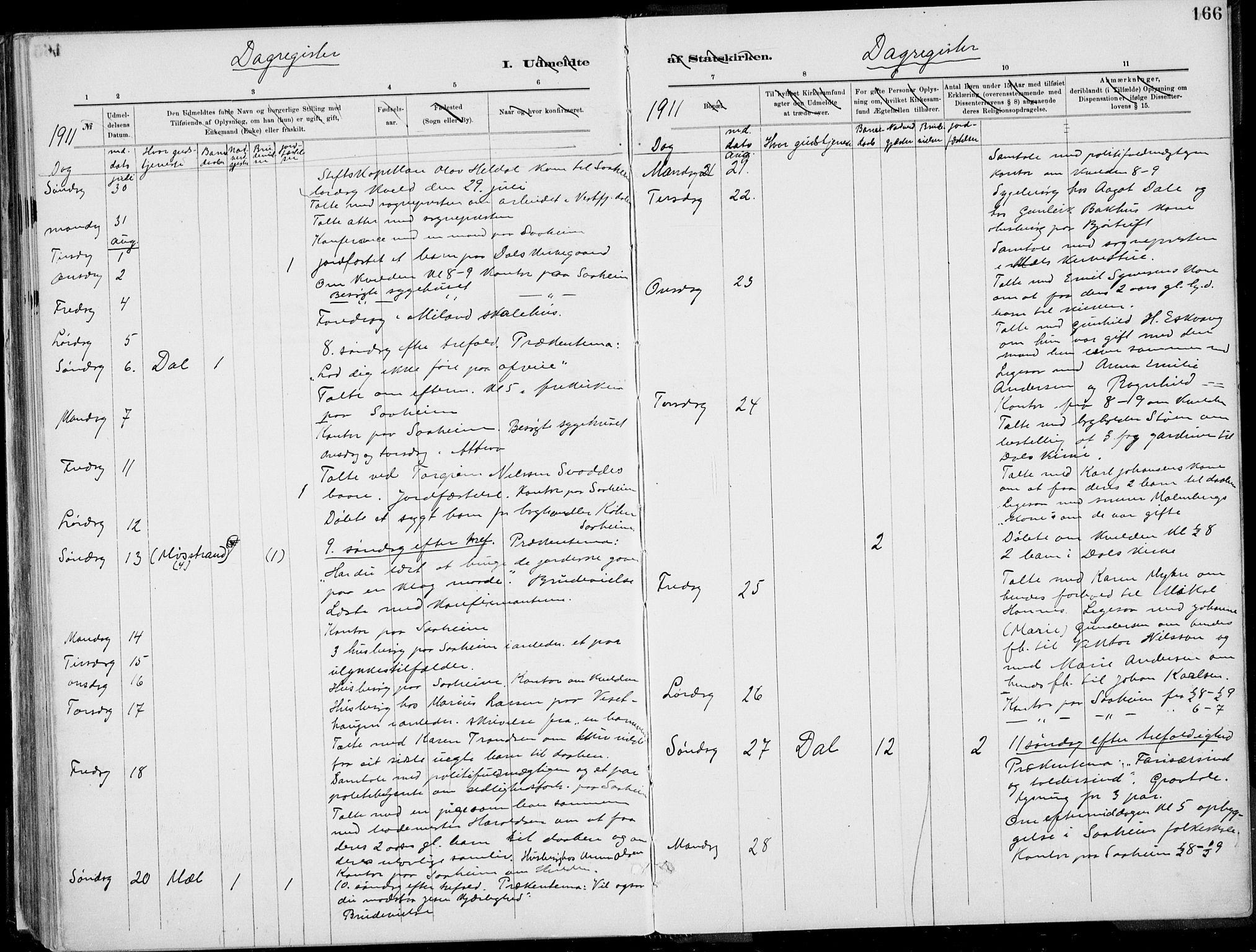 SAKO, Rjukan kirkebøker, F/Fa/L0001: Ministerialbok nr. 1, 1878-1912, s. 166