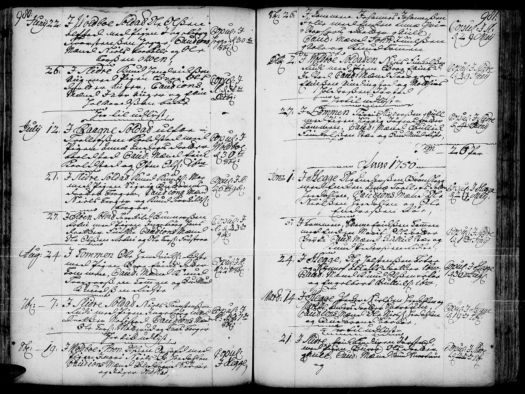 SAH, Slidre prestekontor, Ministerialbok nr. 1, 1724-1814, s. 980-981