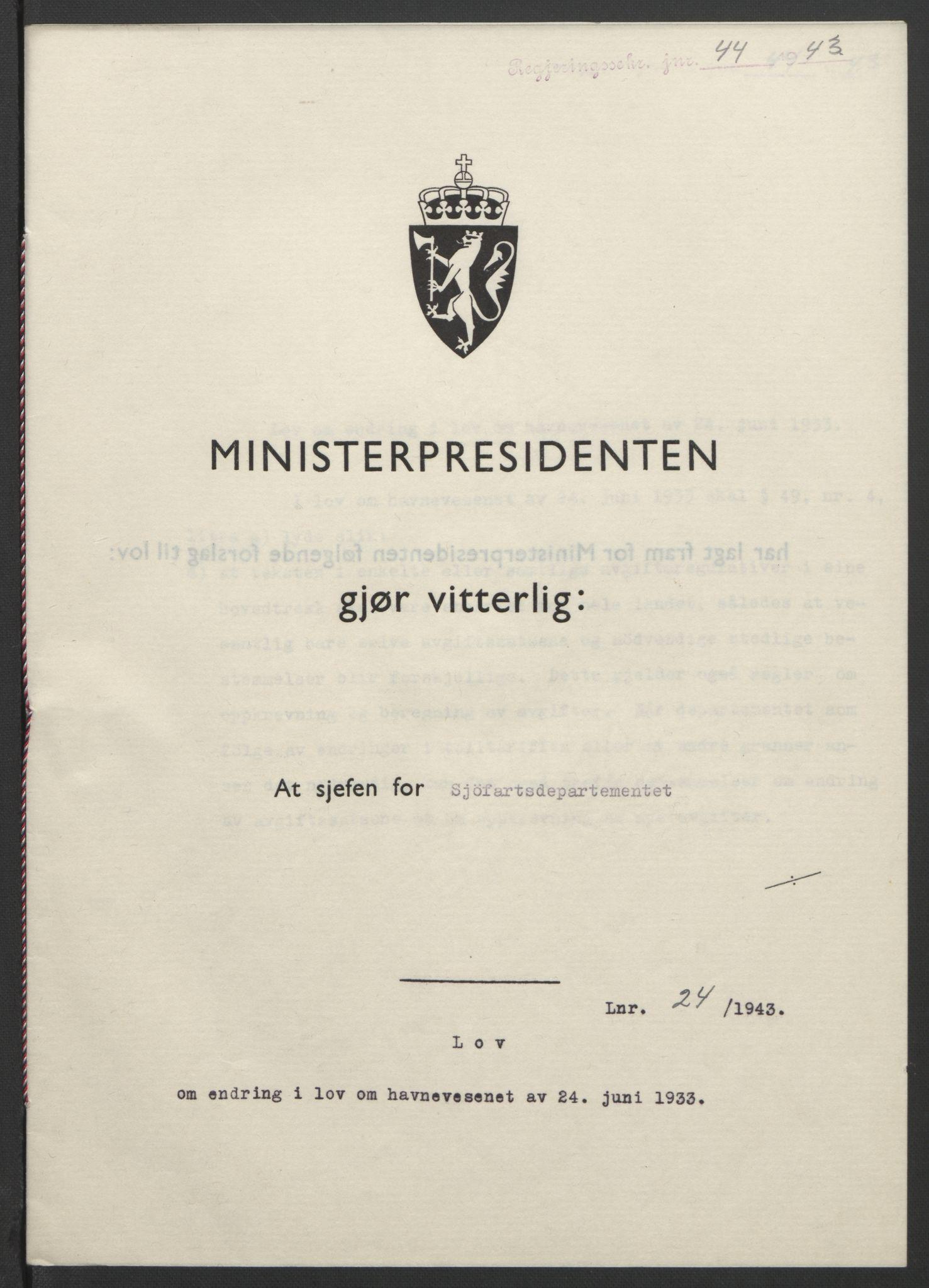 RA, NS-administrasjonen 1940-1945 (Statsrådsekretariatet, de kommisariske statsråder mm), D/Db/L0099: Lover, 1943, s. 97