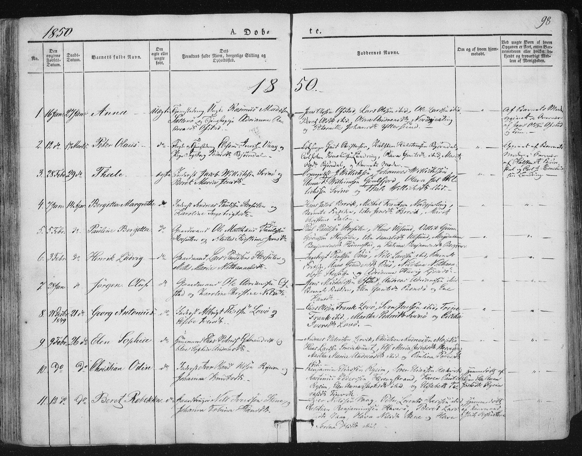 SAT, Ministerialprotokoller, klokkerbøker og fødselsregistre - Nord-Trøndelag, 784/L0669: Ministerialbok nr. 784A04, 1829-1859, s. 98