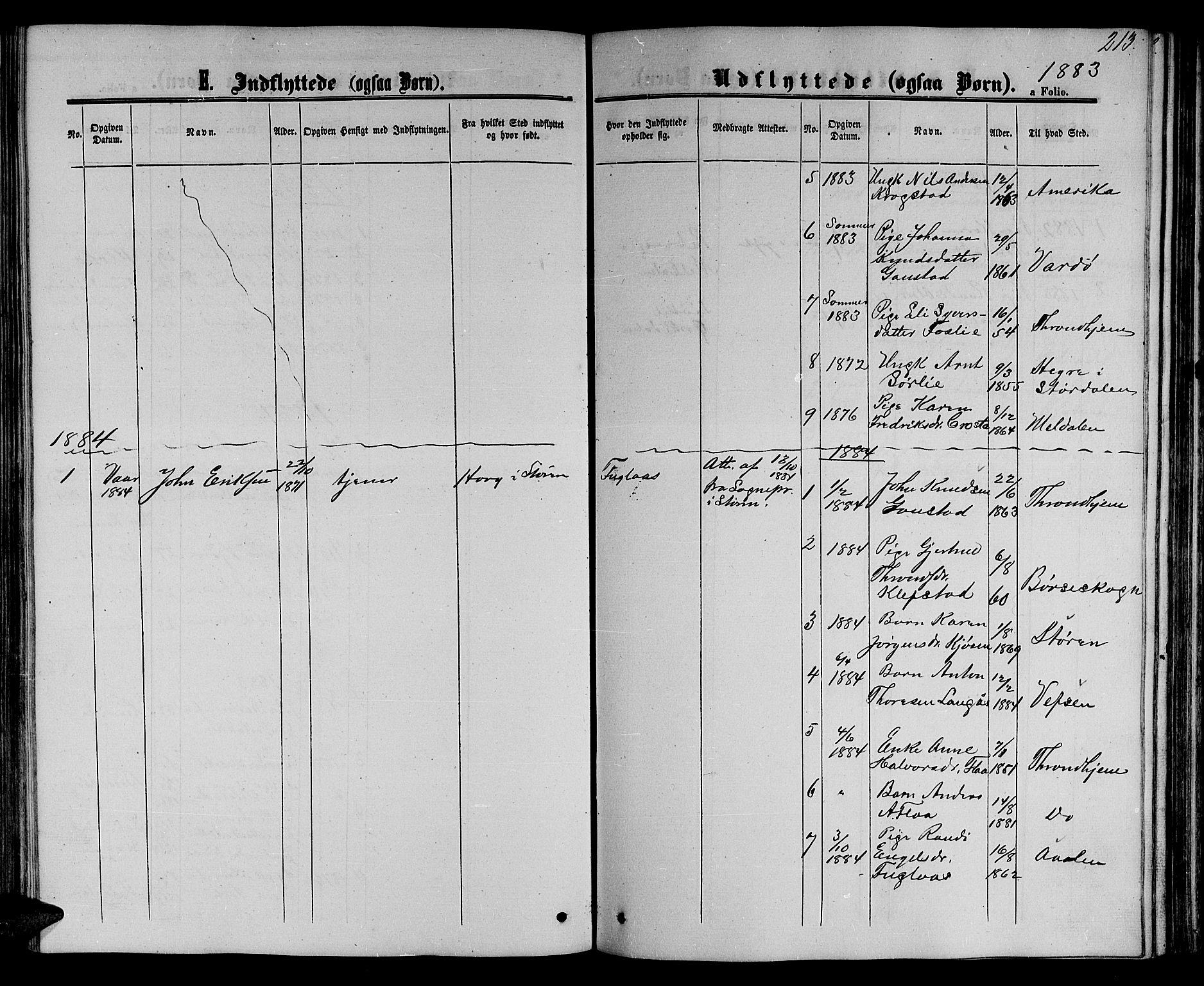 SAT, Ministerialprotokoller, klokkerbøker og fødselsregistre - Sør-Trøndelag, 694/L1131: Klokkerbok nr. 694C03, 1858-1886, s. 213