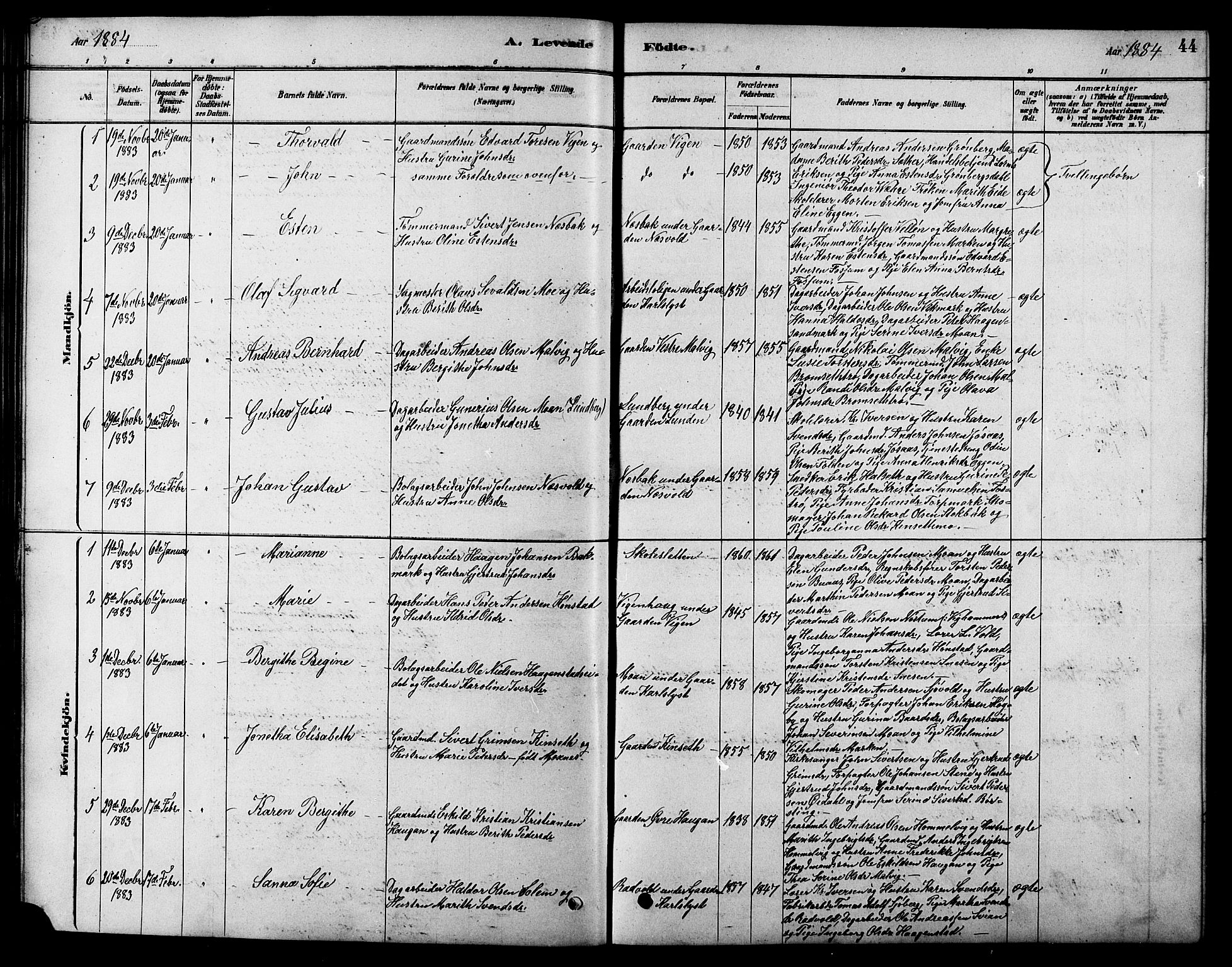 SAT, Ministerialprotokoller, klokkerbøker og fødselsregistre - Sør-Trøndelag, 616/L0423: Klokkerbok nr. 616C06, 1878-1903, s. 44