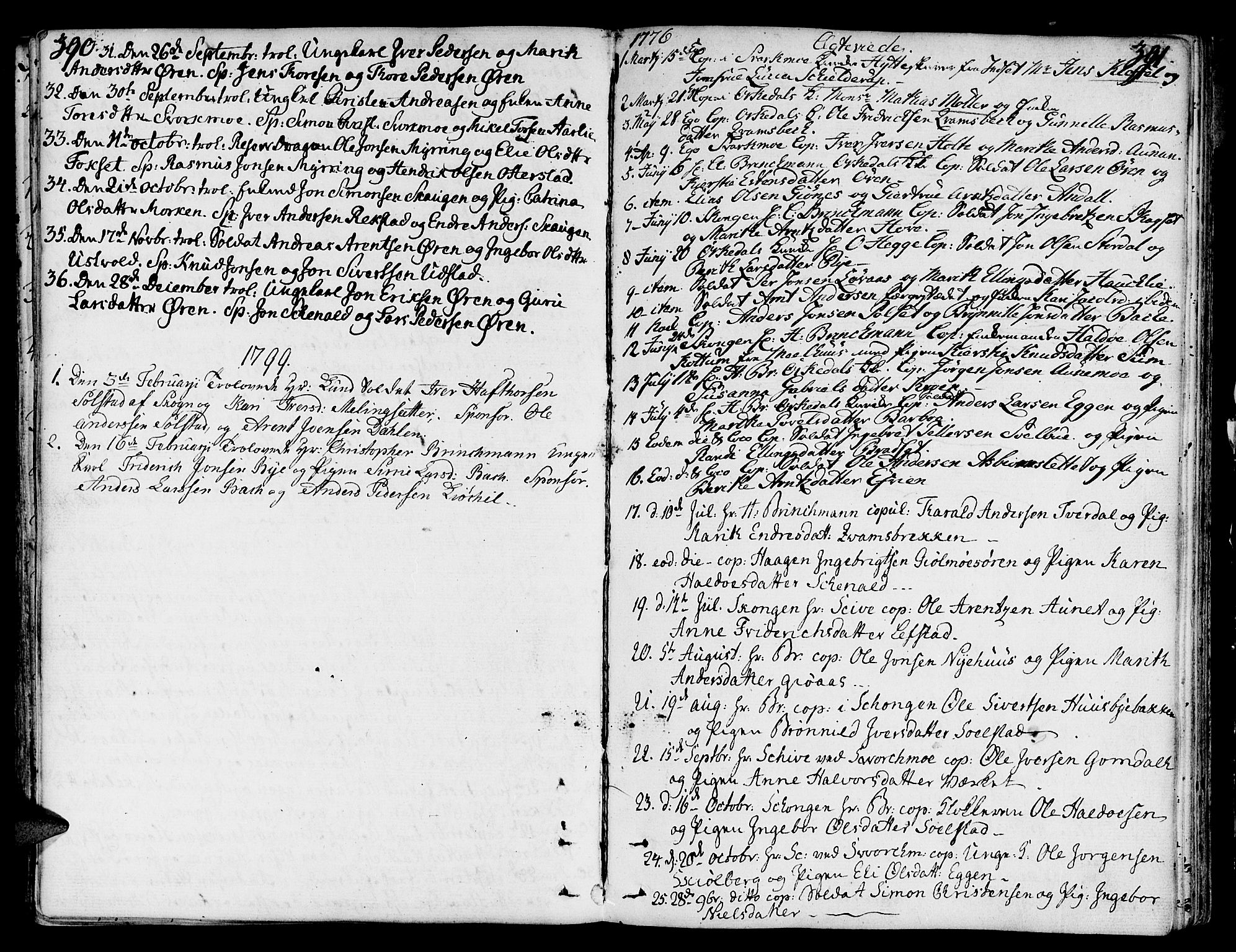 SAT, Ministerialprotokoller, klokkerbøker og fødselsregistre - Sør-Trøndelag, 668/L0802: Ministerialbok nr. 668A02, 1776-1799, s. 390-391