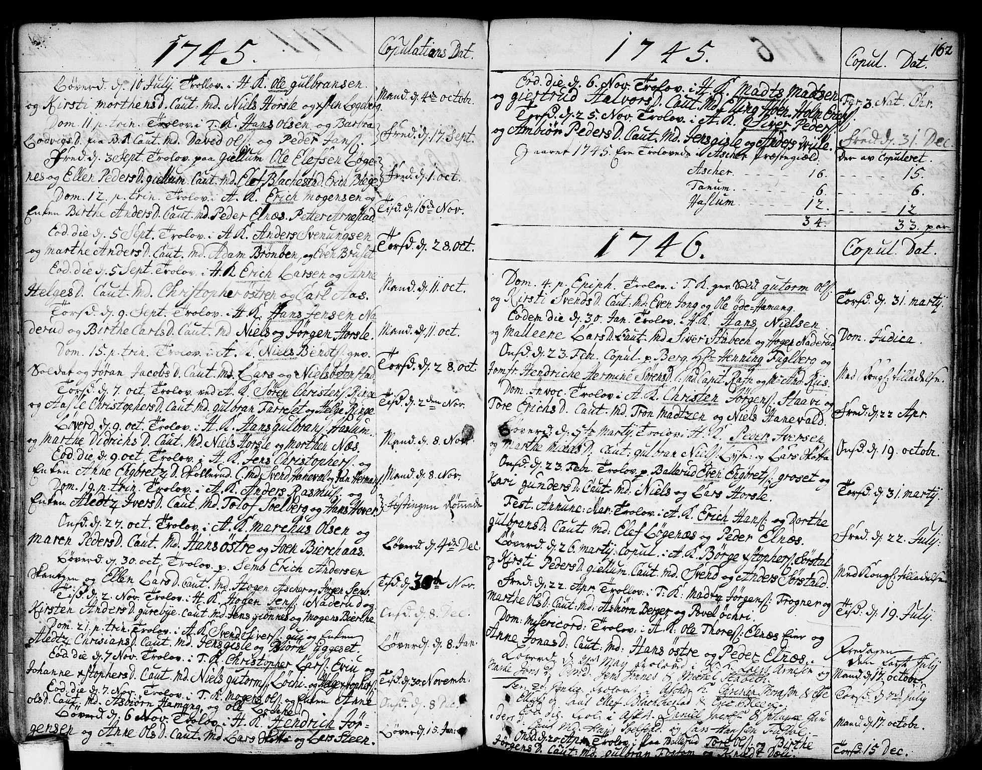 SAO, Asker prestekontor Kirkebøker, F/Fa/L0002: Ministerialbok nr. I 2, 1733-1766, s. 162