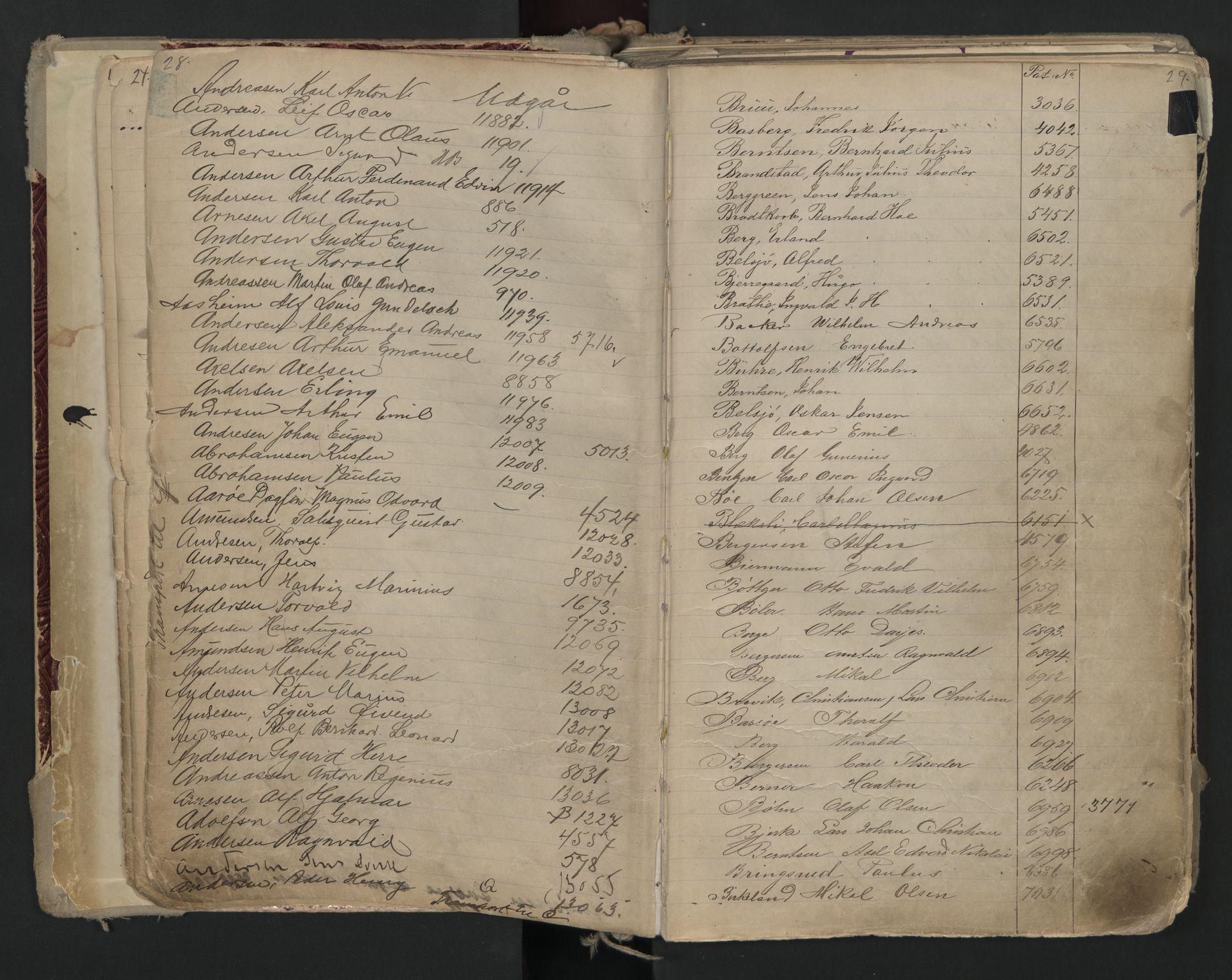 SAO, Oslo sjømannskontor, F/Fa/L0002: Register for Kristiania krets, 1866-1930, s. 28-29