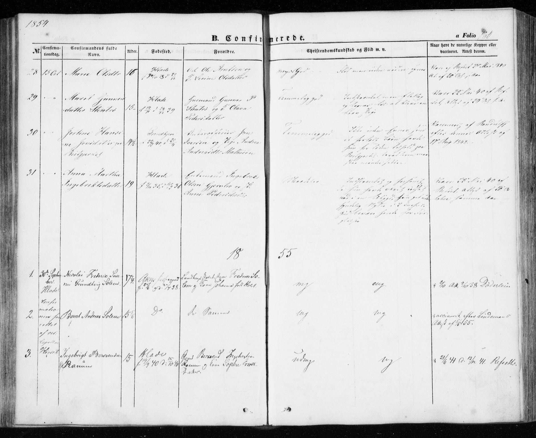SAT, Ministerialprotokoller, klokkerbøker og fødselsregistre - Sør-Trøndelag, 606/L0291: Ministerialbok nr. 606A06, 1848-1856, s. 180