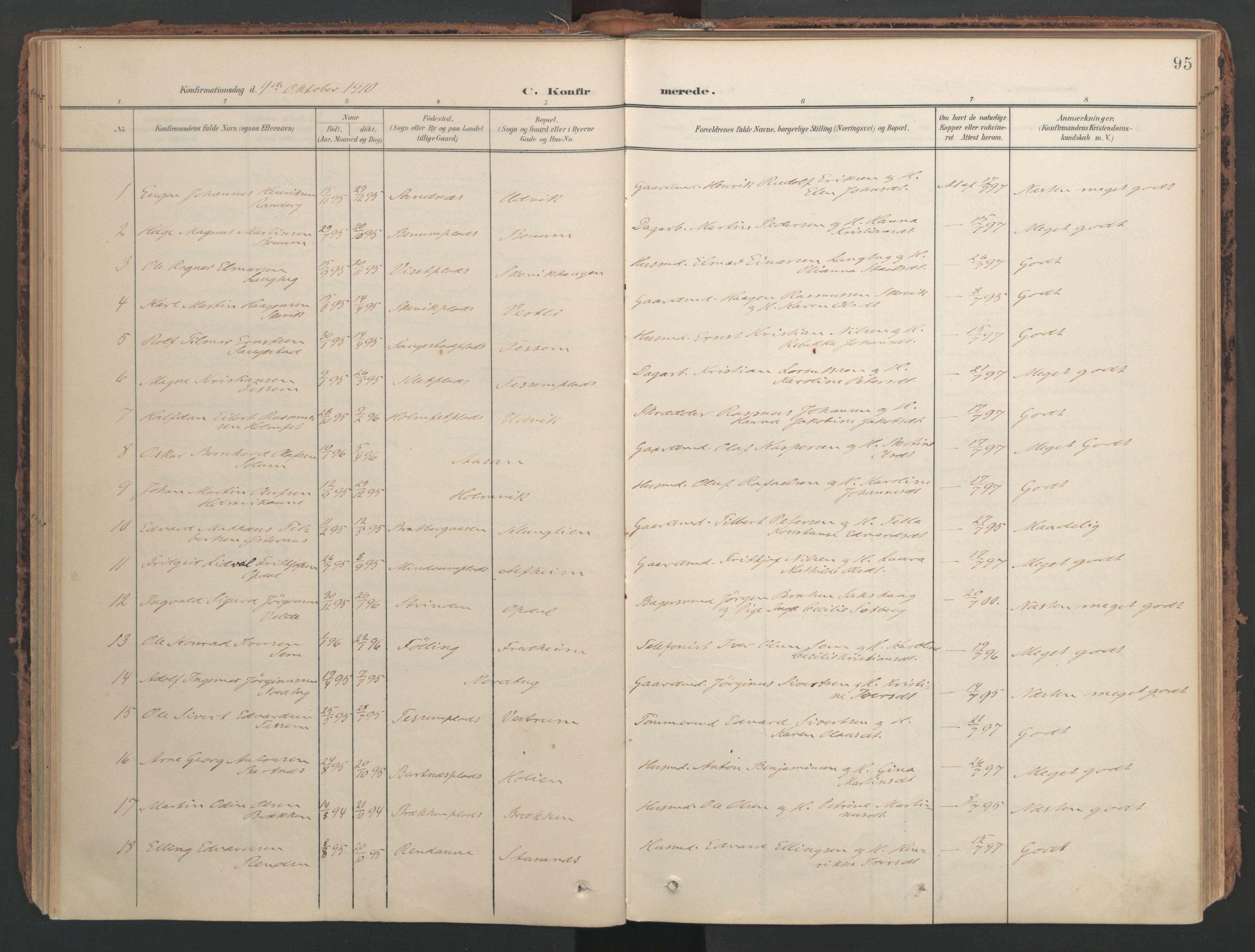 SAT, Ministerialprotokoller, klokkerbøker og fødselsregistre - Nord-Trøndelag, 741/L0397: Ministerialbok nr. 741A11, 1901-1911, s. 95