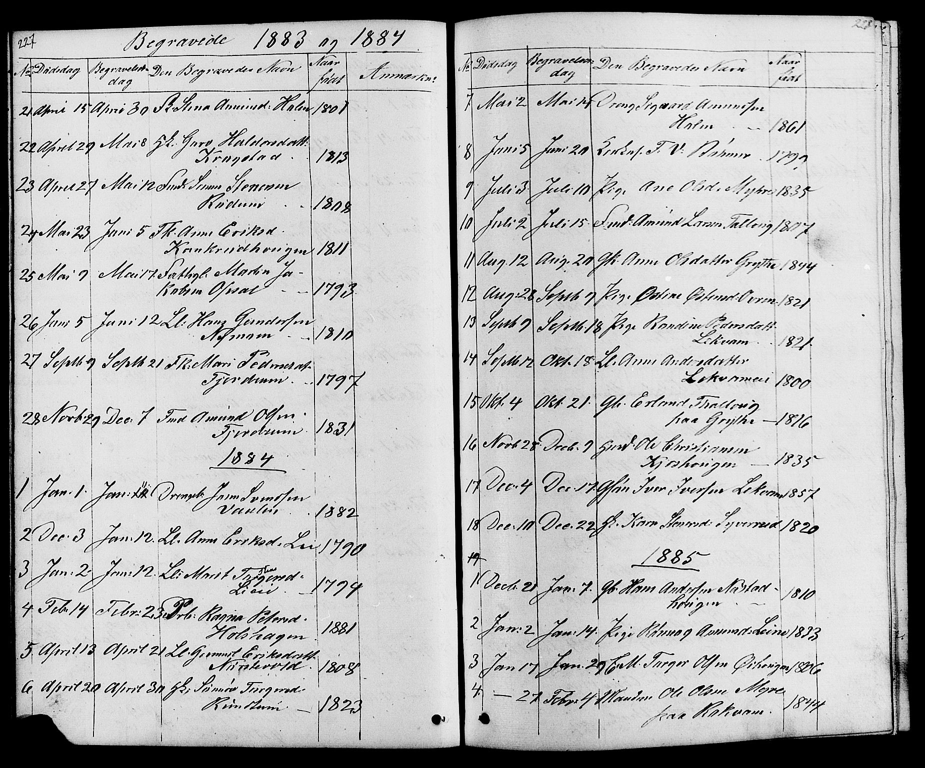 SAH, Østre Gausdal prestekontor, Klokkerbok nr. 1, 1863-1893, s. 227-228