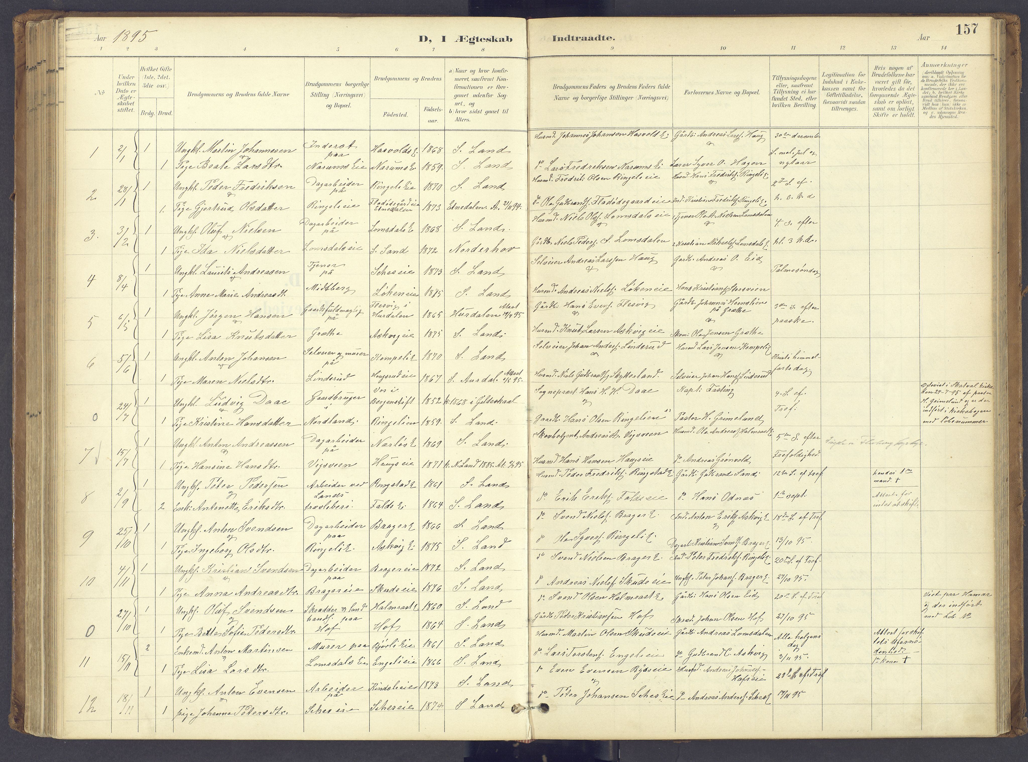SAH, Søndre Land prestekontor, K/L0006: Ministerialbok nr. 6, 1895-1904, s. 157