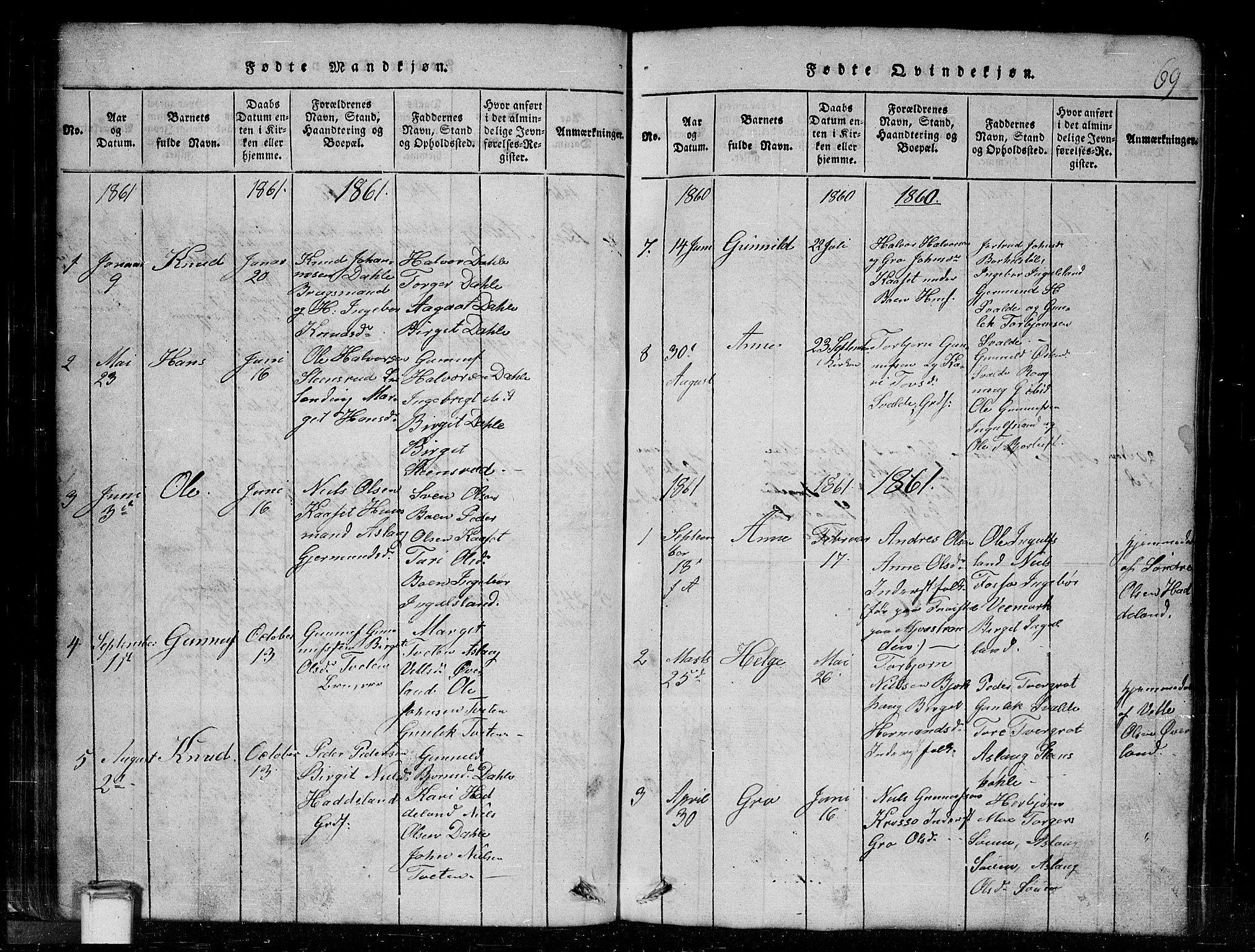 SAKO, Tinn kirkebøker, G/Gc/L0001: Klokkerbok nr. III 1, 1815-1879, s. 69