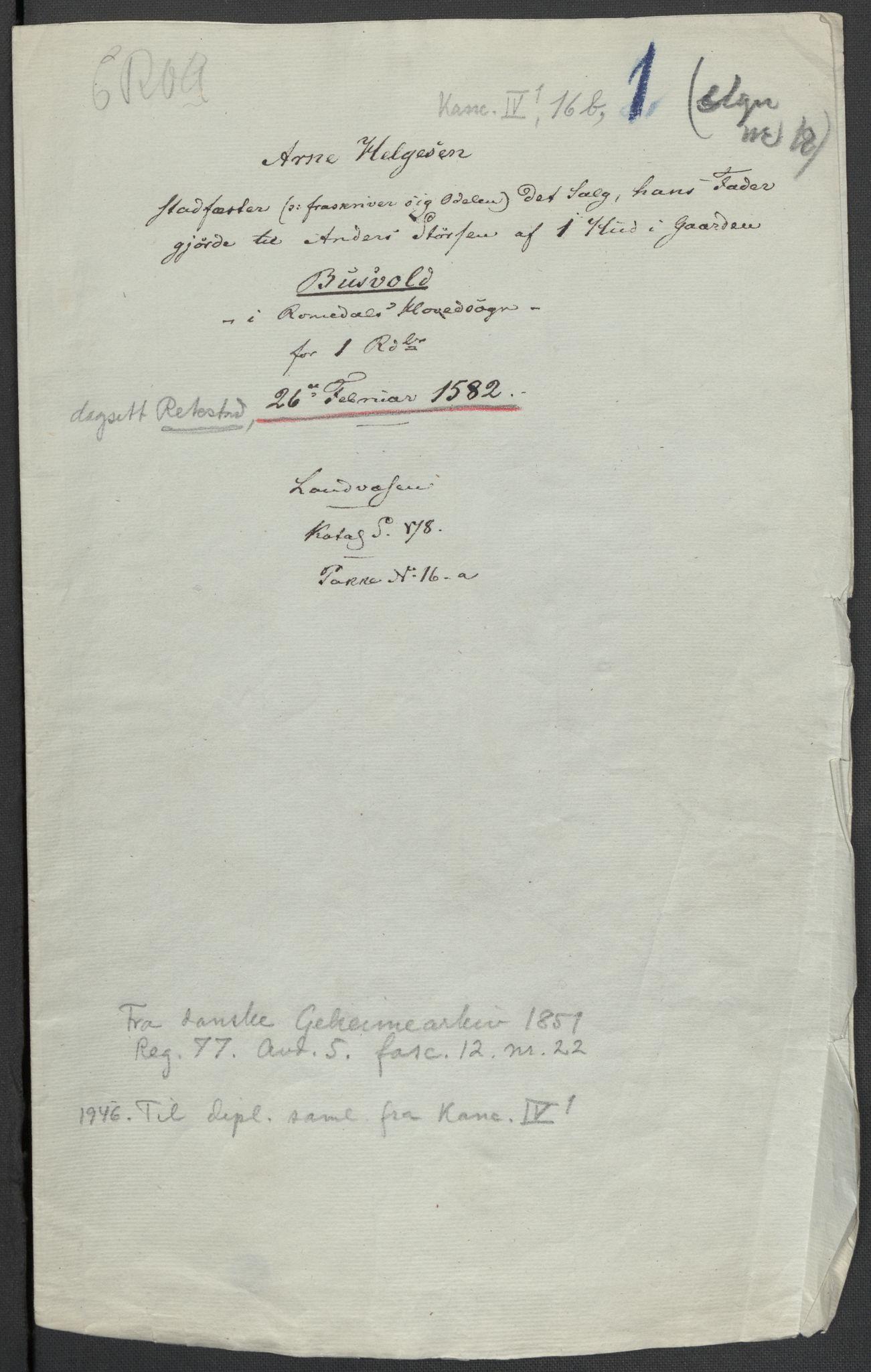 RA, Riksarkivets diplomsamling, F02/L0084: Dokumenter, 1582, s. 19