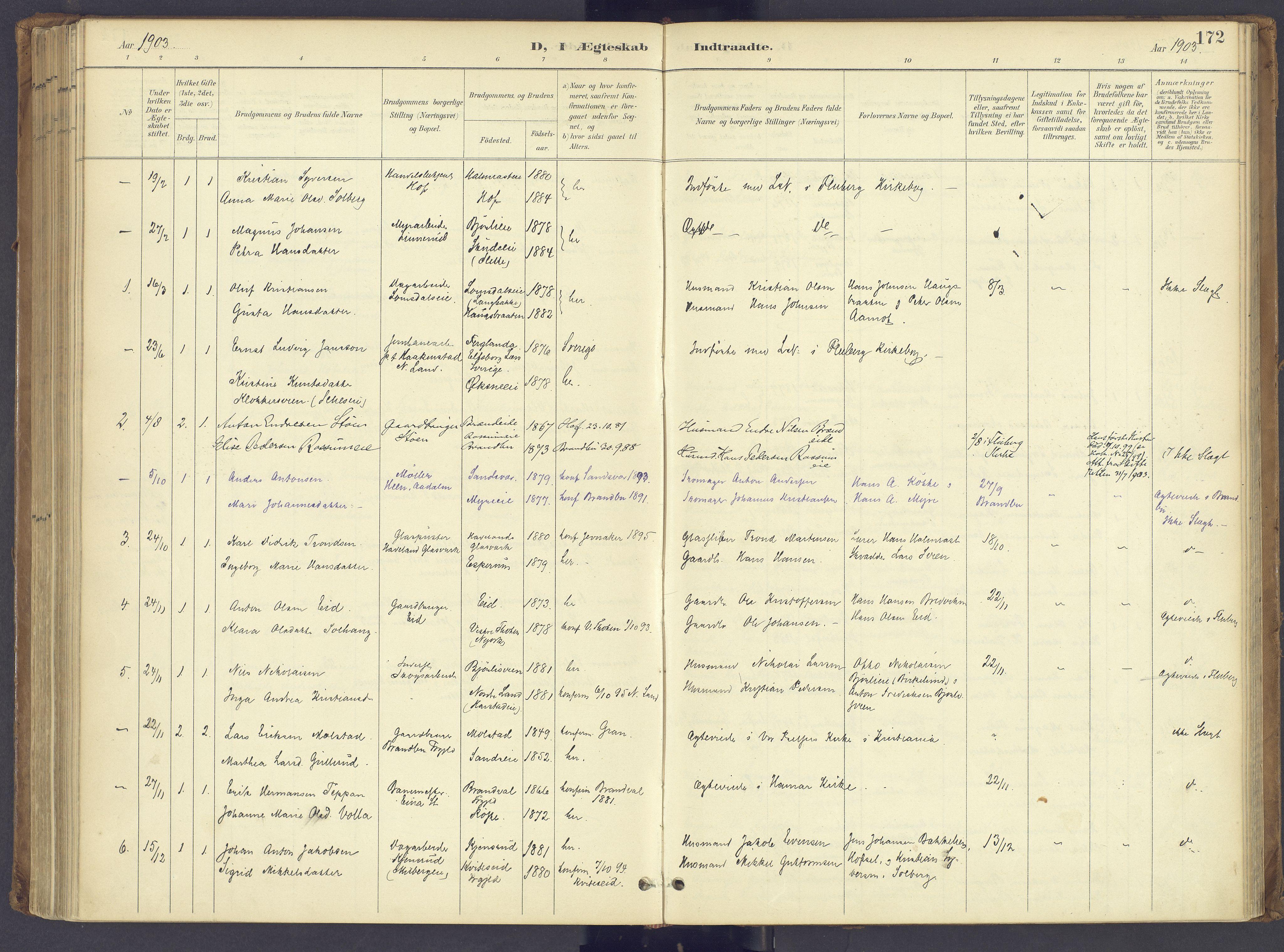 SAH, Søndre Land prestekontor, K/L0006: Ministerialbok nr. 6, 1895-1904, s. 172