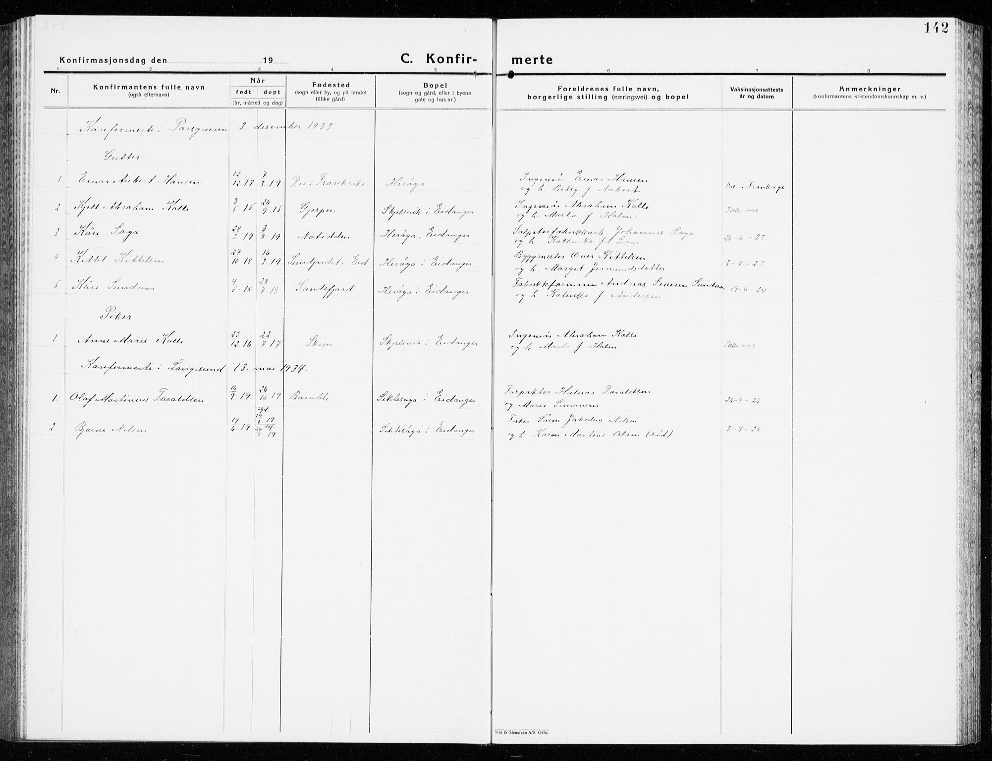 SAKO, Eidanger kirkebøker, G/Ga/L0005: Klokkerbok nr. 5, 1928-1942, s. 142