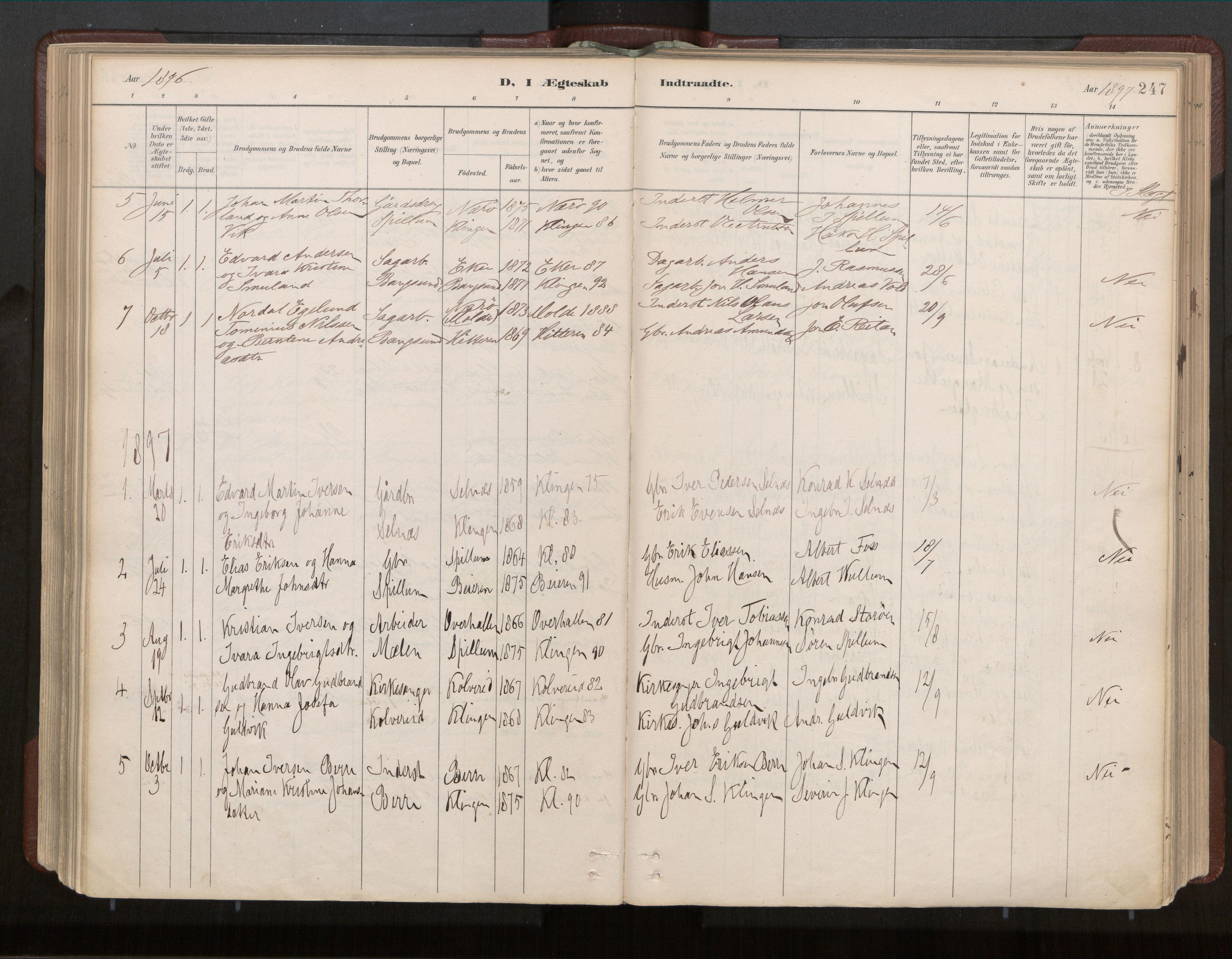 SAT, Ministerialprotokoller, klokkerbøker og fødselsregistre - Nord-Trøndelag, 770/L0589: Ministerialbok nr. 770A03, 1887-1929, s. 247