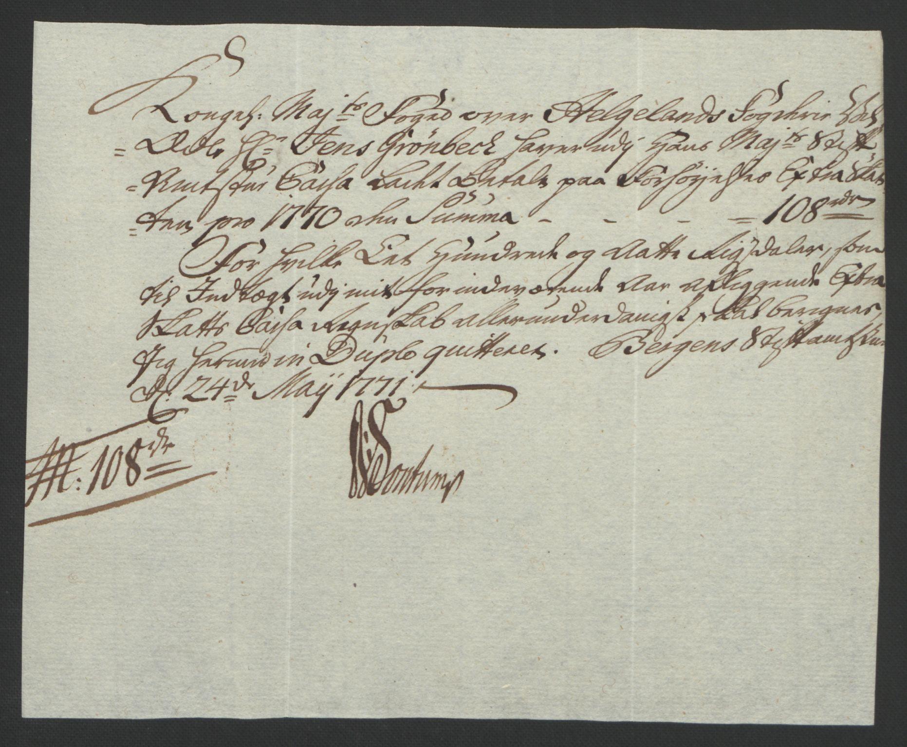 RA, Rentekammeret inntil 1814, Reviderte regnskaper, Fogderegnskap, R65/L4573: Ekstraskatten Helgeland, 1762-1772, s. 363