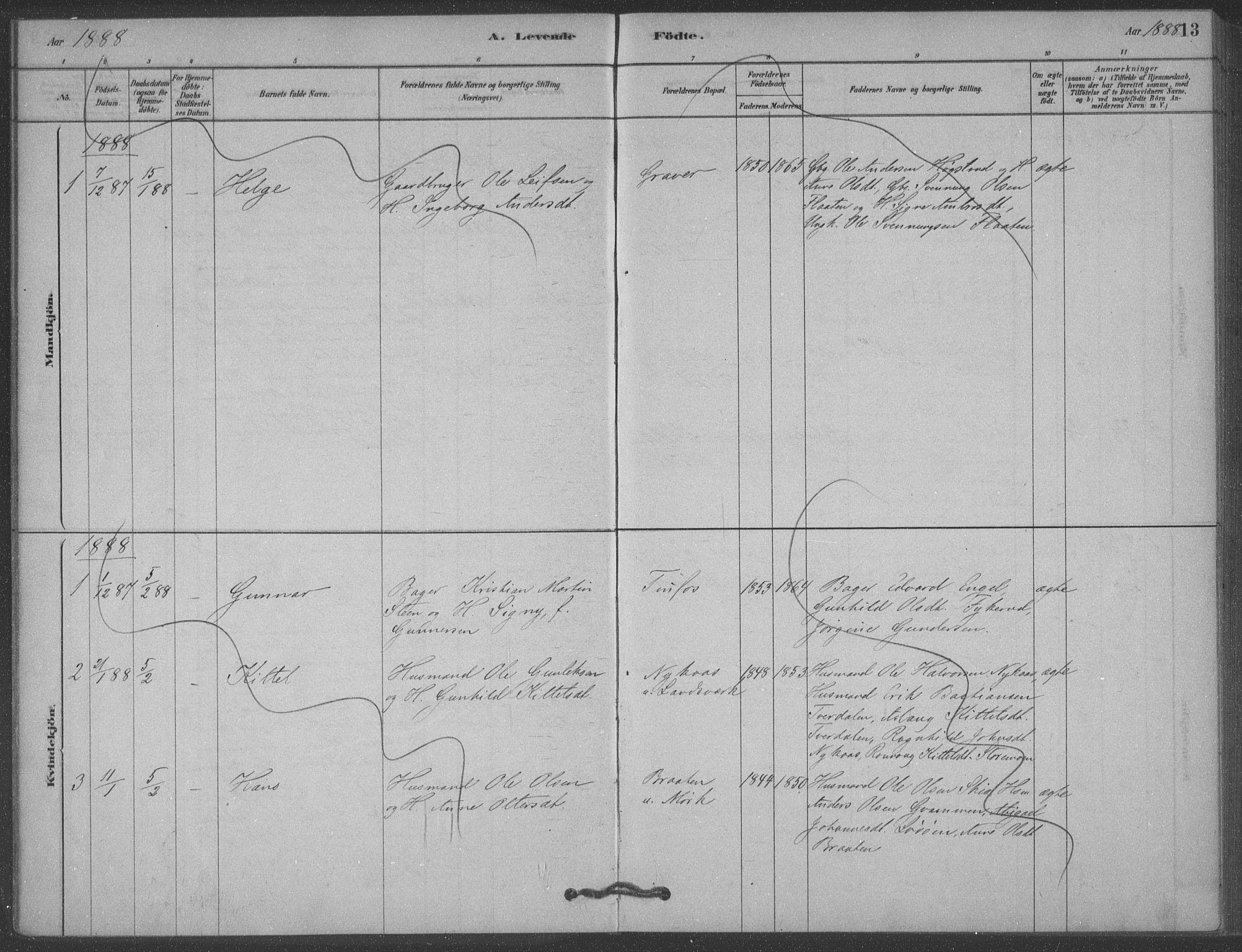 SAKO, Heddal kirkebøker, F/Fb/L0002: Ministerialbok nr. II 2, 1878-1913, s. 13