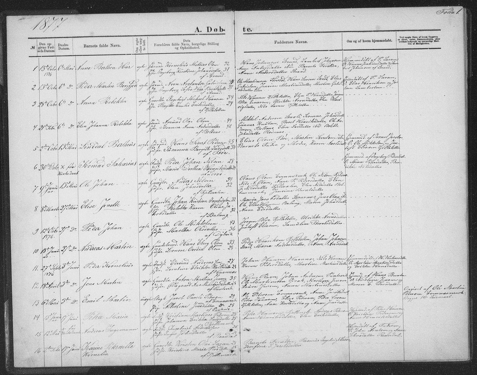 SAT, Ministerialprotokoller, klokkerbøker og fødselsregistre - Nordland, 863/L0913: Klokkerbok nr. 863C03, 1877-1885, s. 1