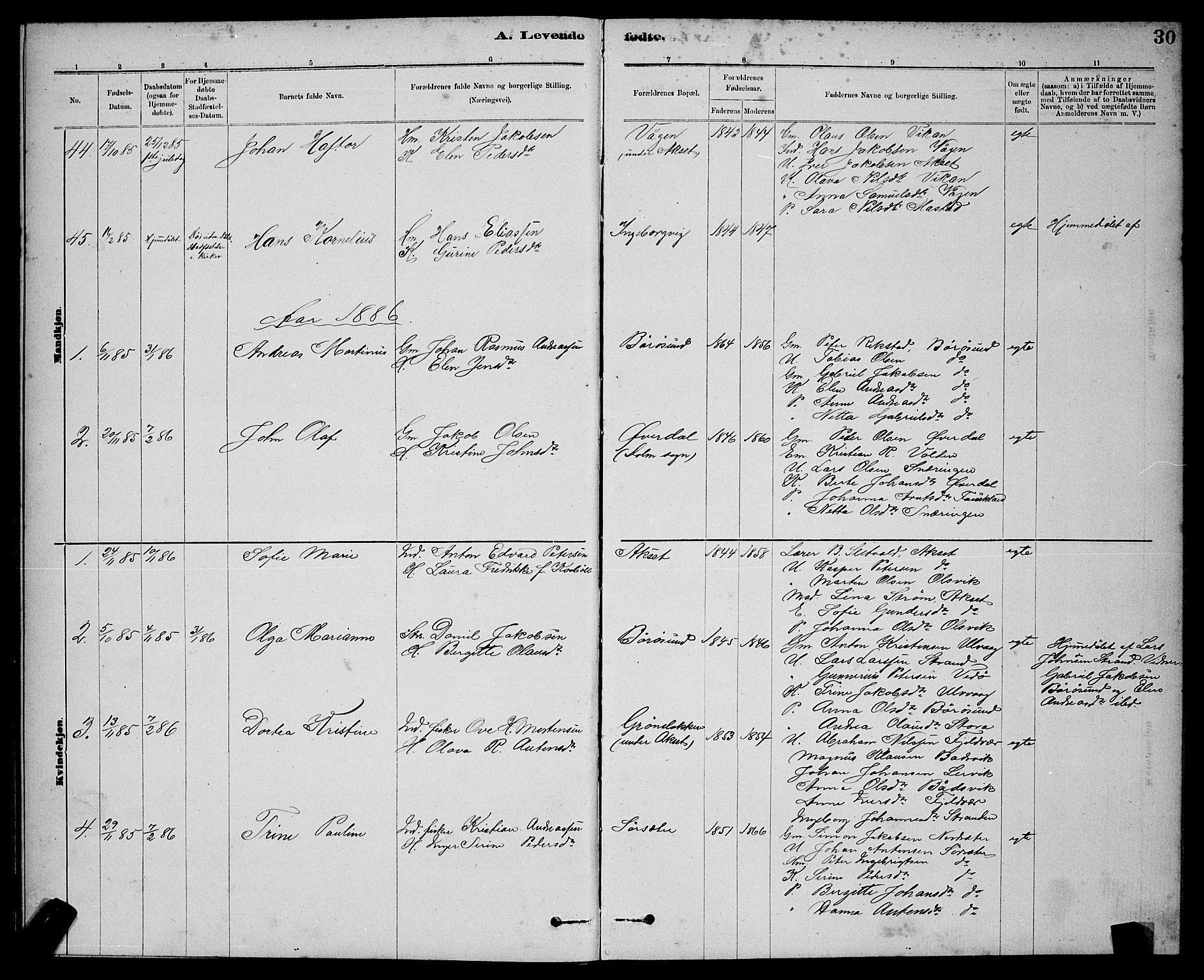 SAT, Ministerialprotokoller, klokkerbøker og fødselsregistre - Sør-Trøndelag, 637/L0562: Klokkerbok nr. 637C03, 1883-1898, s. 30