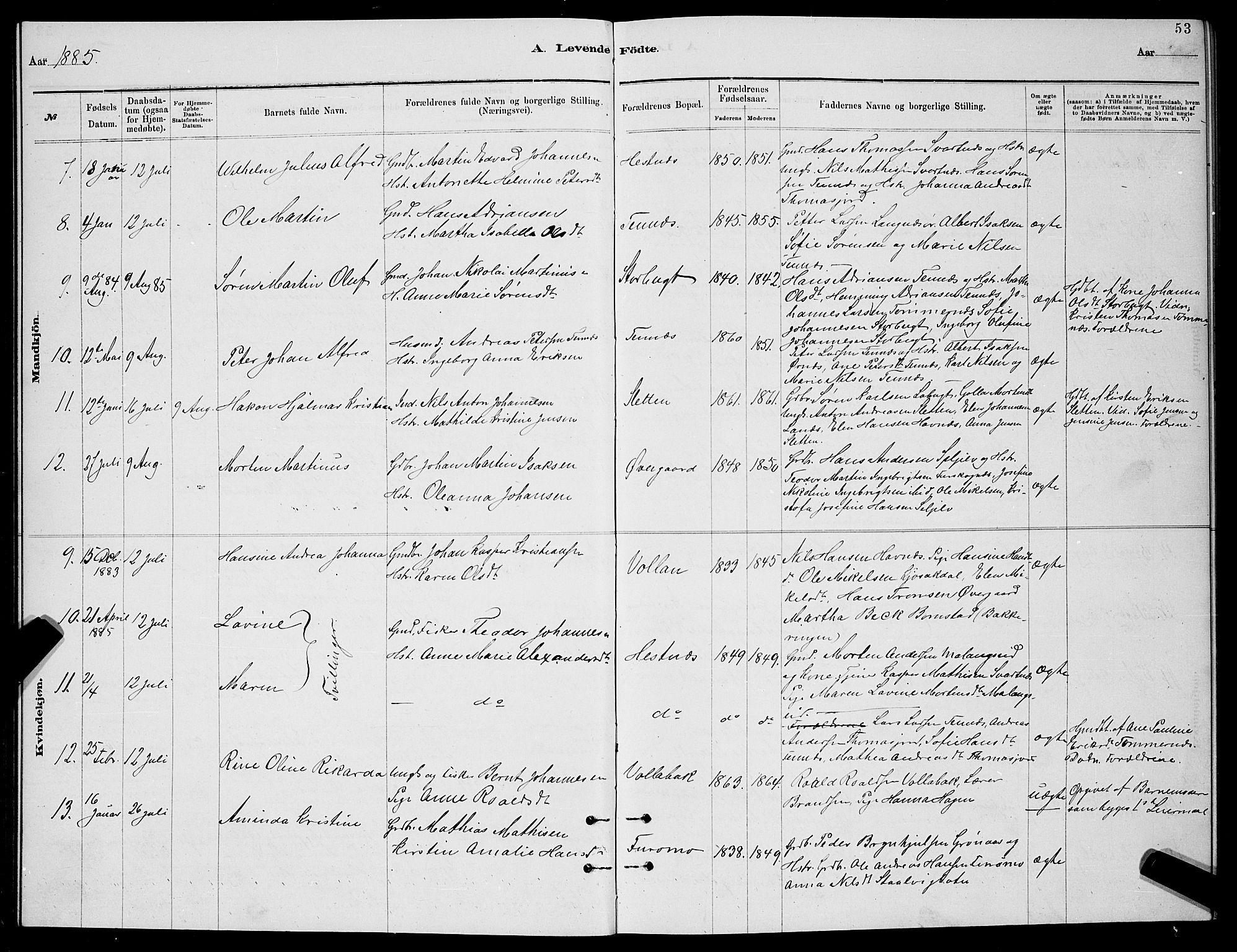 SATØ, Balsfjord sokneprestembete, Klokkerbok nr. 7, 1878-1889, s. 53