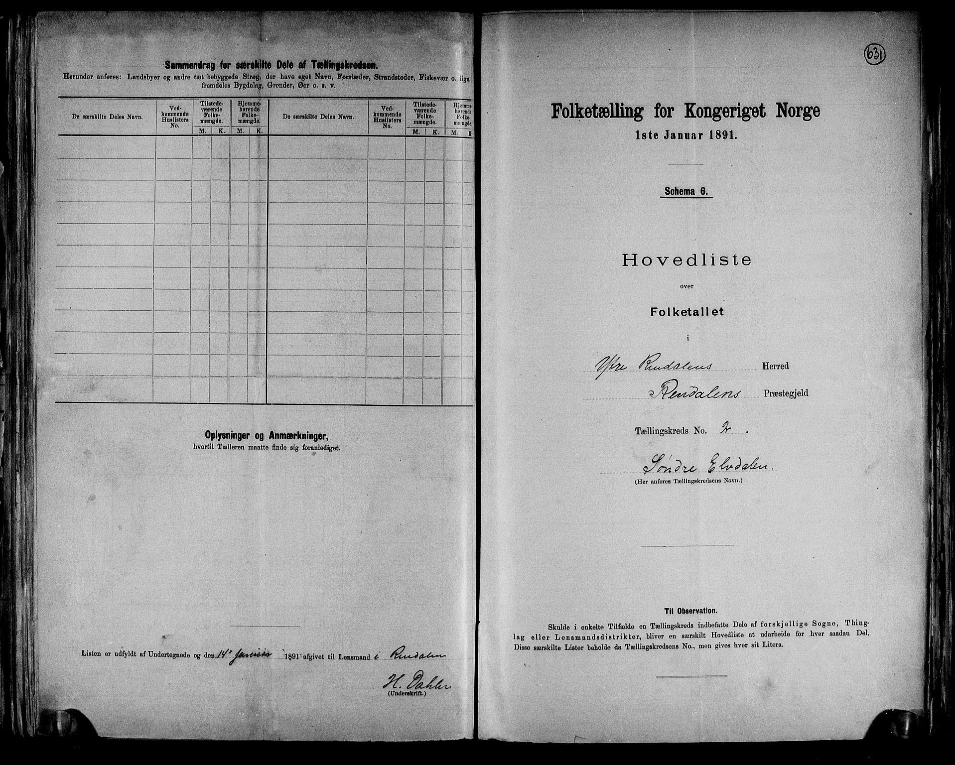 RA, Folketelling 1891 for 0432 Ytre Rendal herred, 1891, s. 6