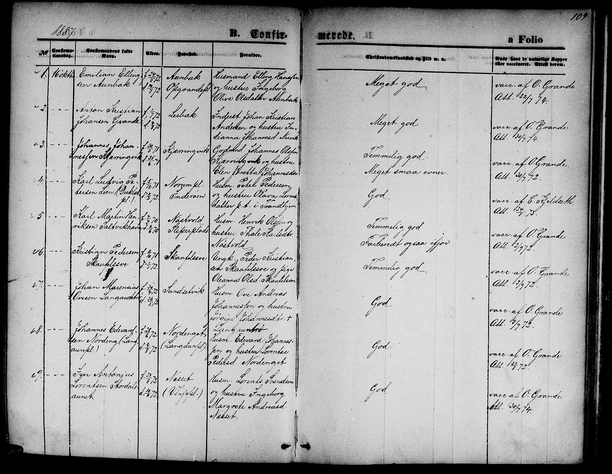 SAT, Ministerialprotokoller, klokkerbøker og fødselsregistre - Nord-Trøndelag, 733/L0326: Klokkerbok nr. 733C01, 1871-1887, s. 109