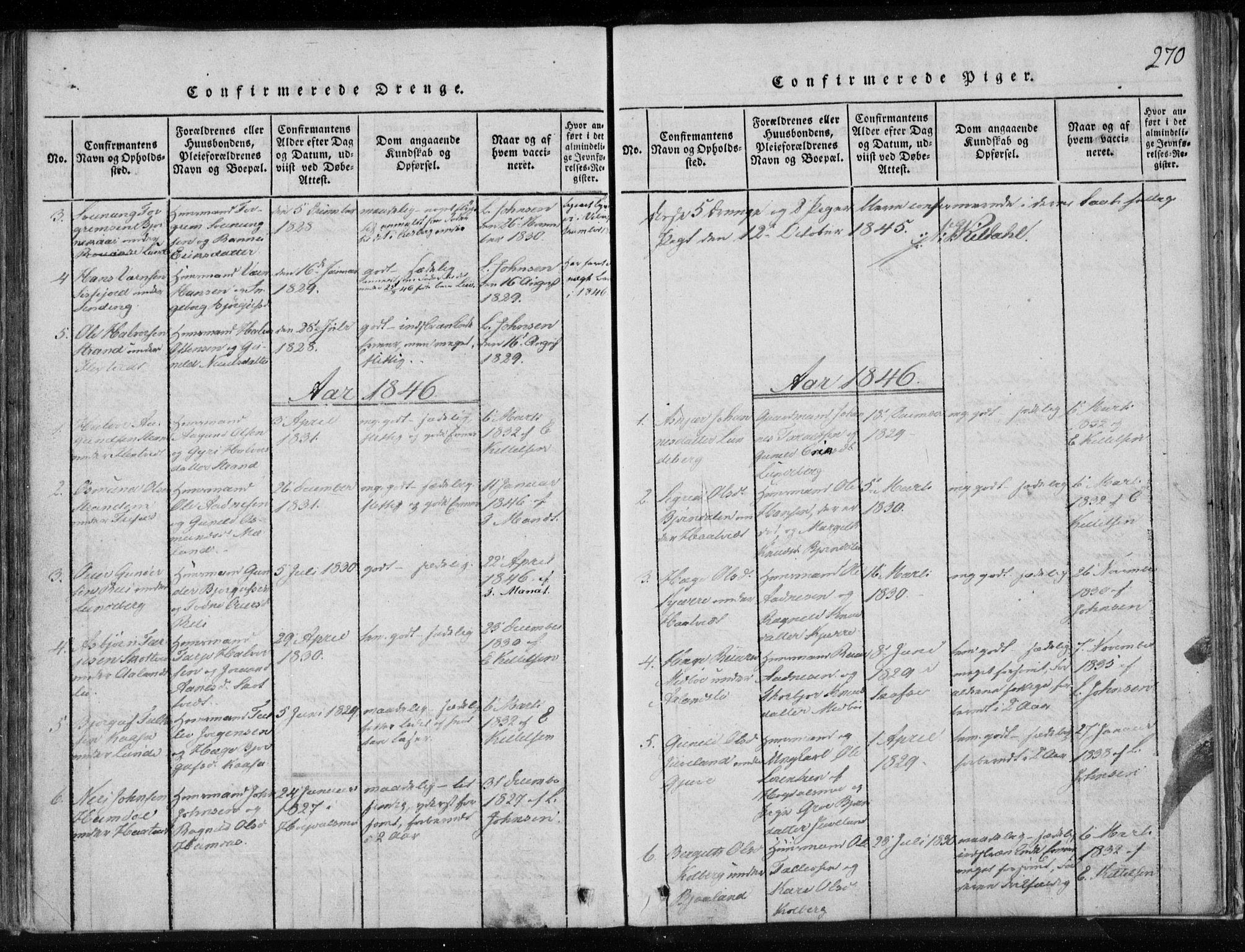 SAKO, Lårdal kirkebøker, F/Fa/L0005: Ministerialbok nr. I 5, 1815-1860, s. 270