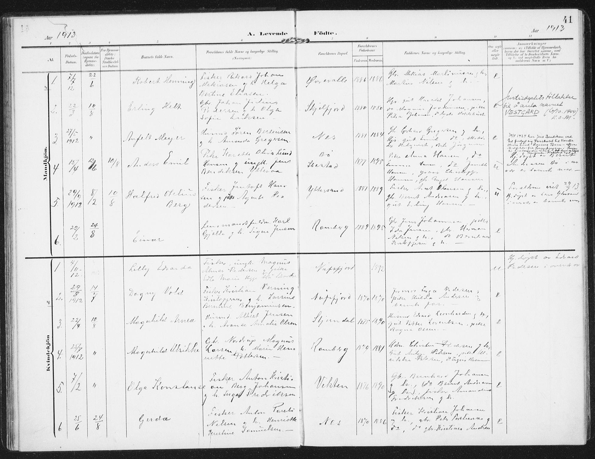 SAT, Ministerialprotokoller, klokkerbøker og fødselsregistre - Nordland, 885/L1206: Ministerialbok nr. 885A07, 1905-1915, s. 41