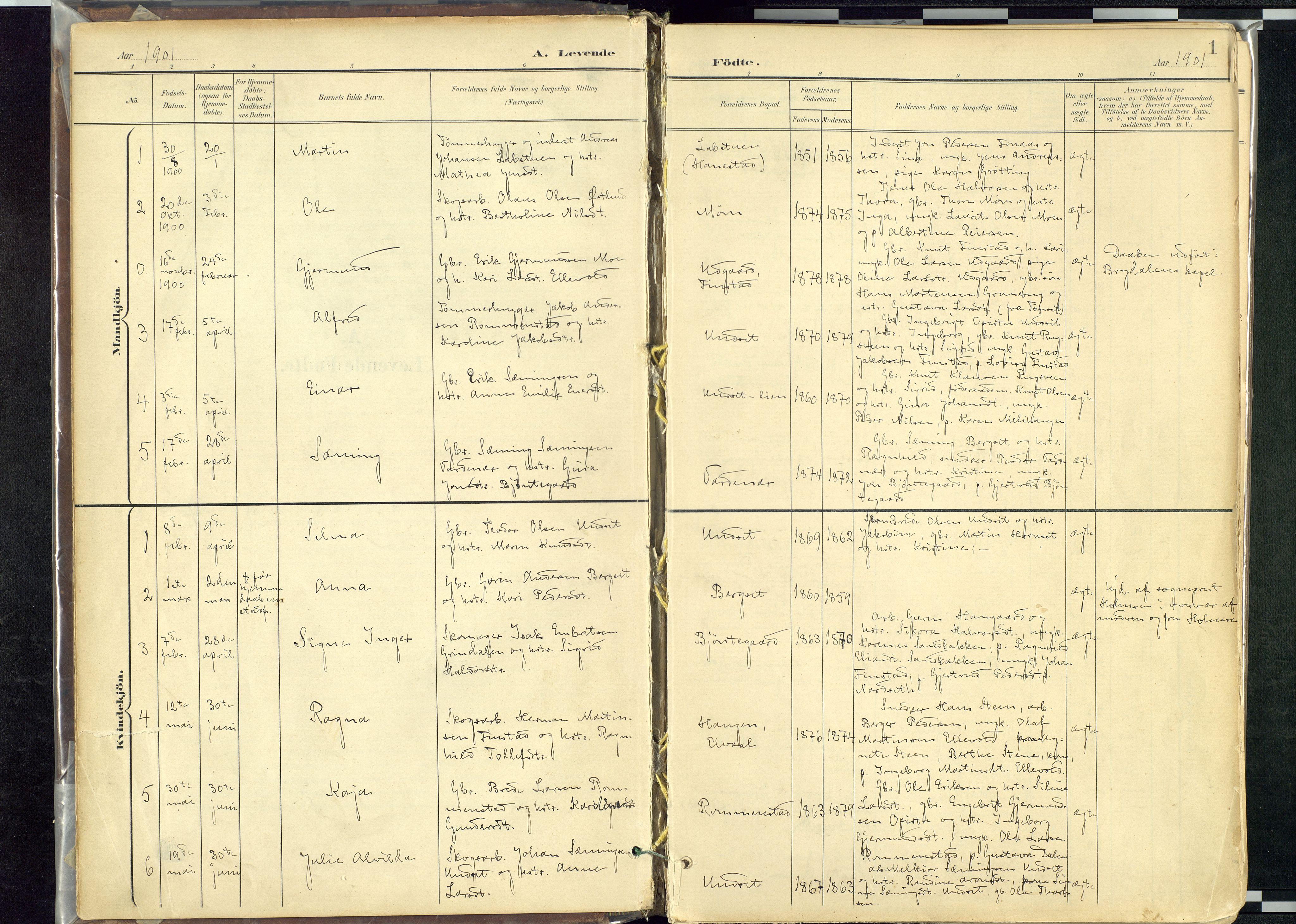 SAH, Rendalen prestekontor, H/Ha/Haa: Ministerialbok nr. 12, 1901-1928, s. 1
