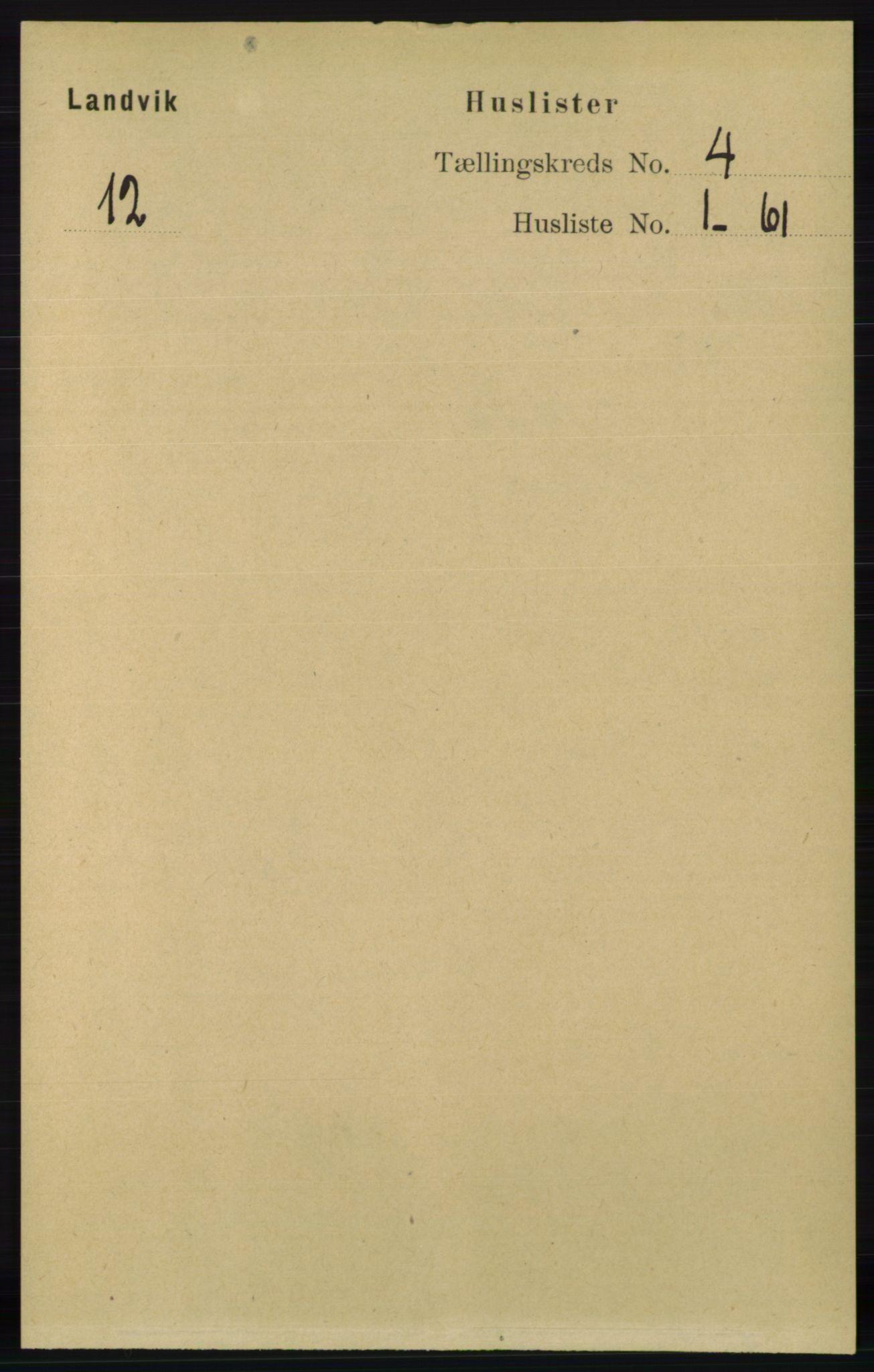 RA, Folketelling 1891 for 0924 Landvik herred, 1891, s. 1710