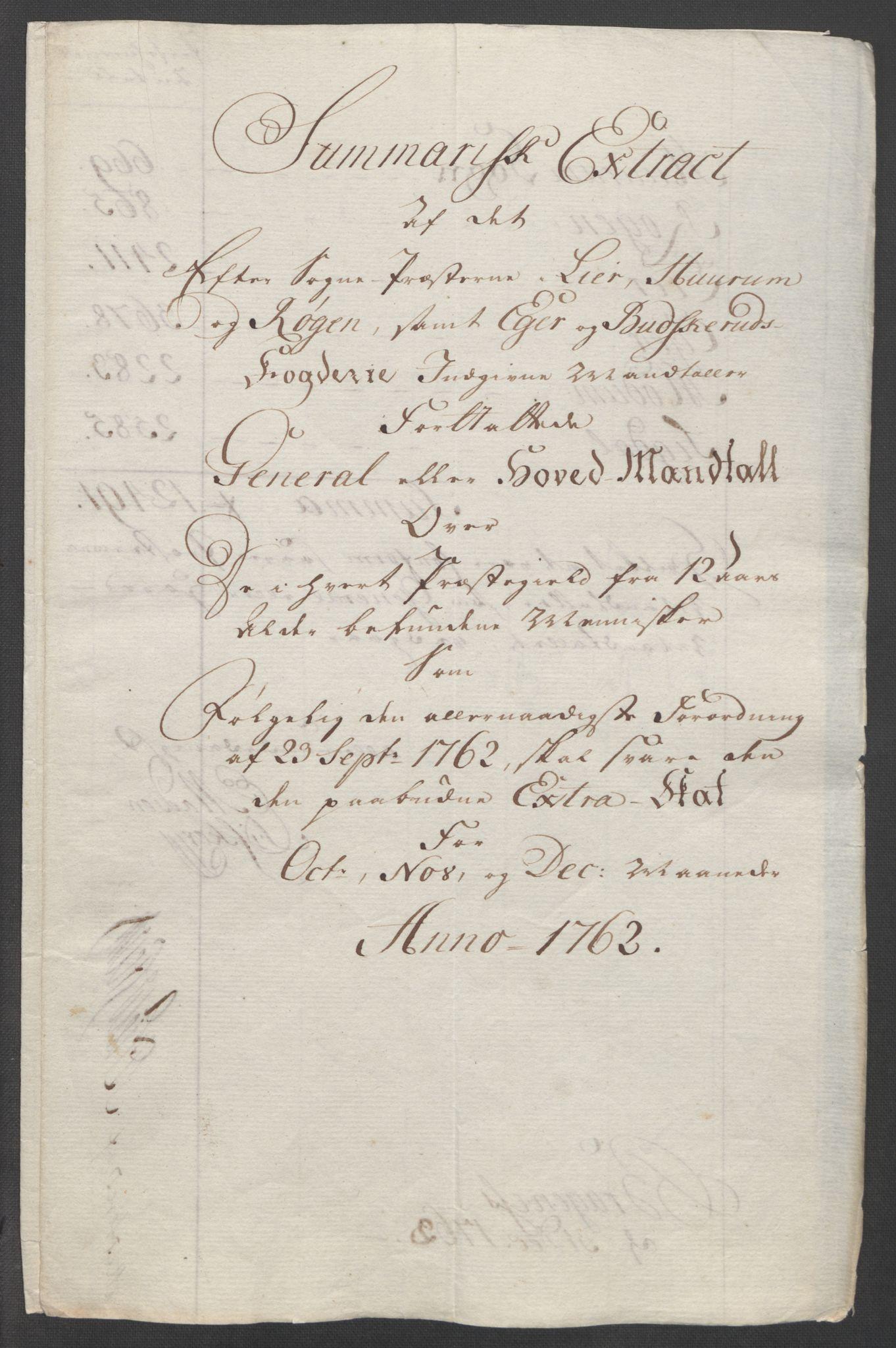 RA, Rentekammeret inntil 1814, Reviderte regnskaper, Fogderegnskap, R31/L1833: Ekstraskatten Hurum, Røyken, Eiker, Lier og Buskerud, 1762-1764, s. 15