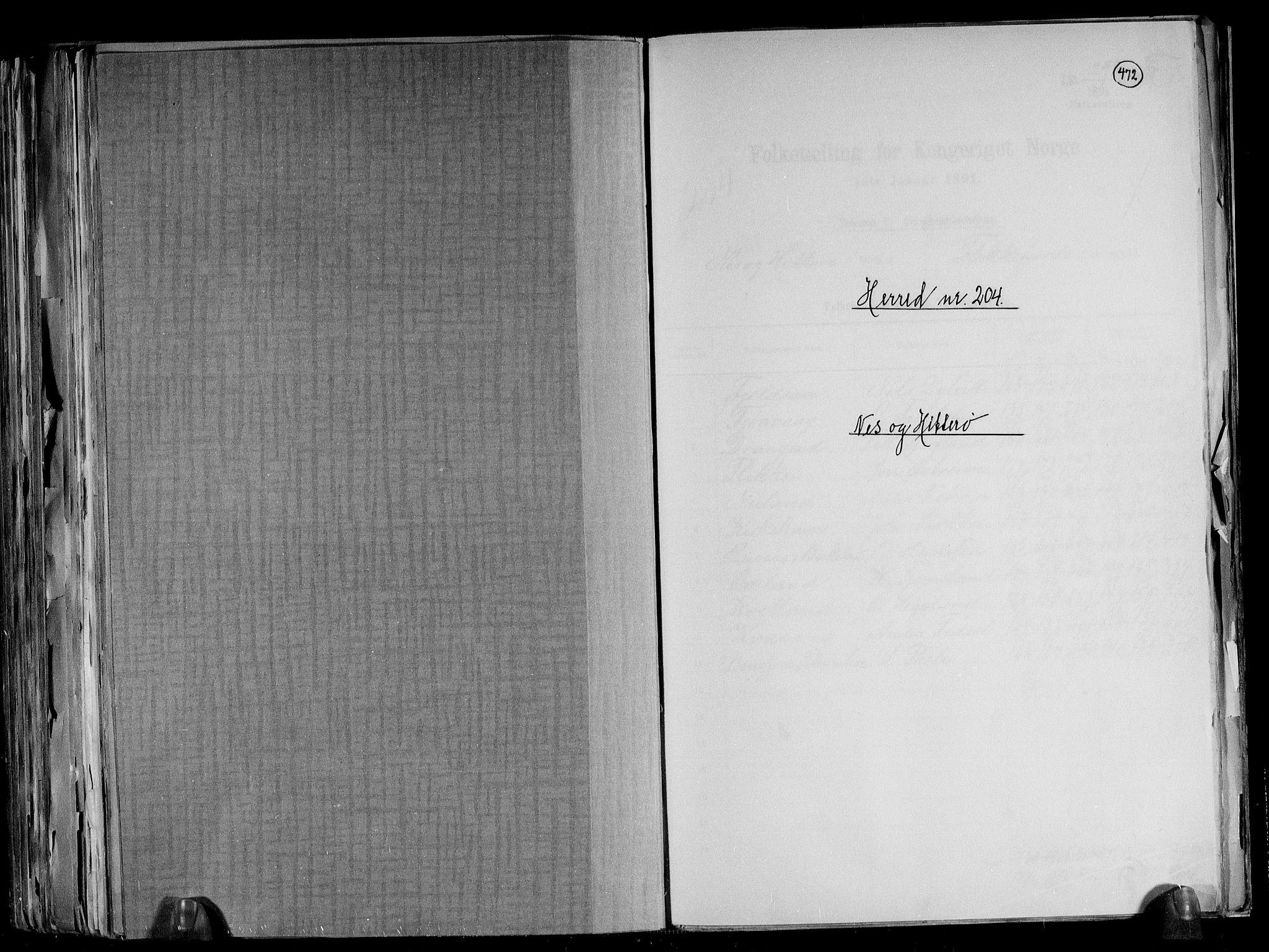 RA, Folketelling 1891 for 1043 Hidra og Nes herred, 1891, s. 1
