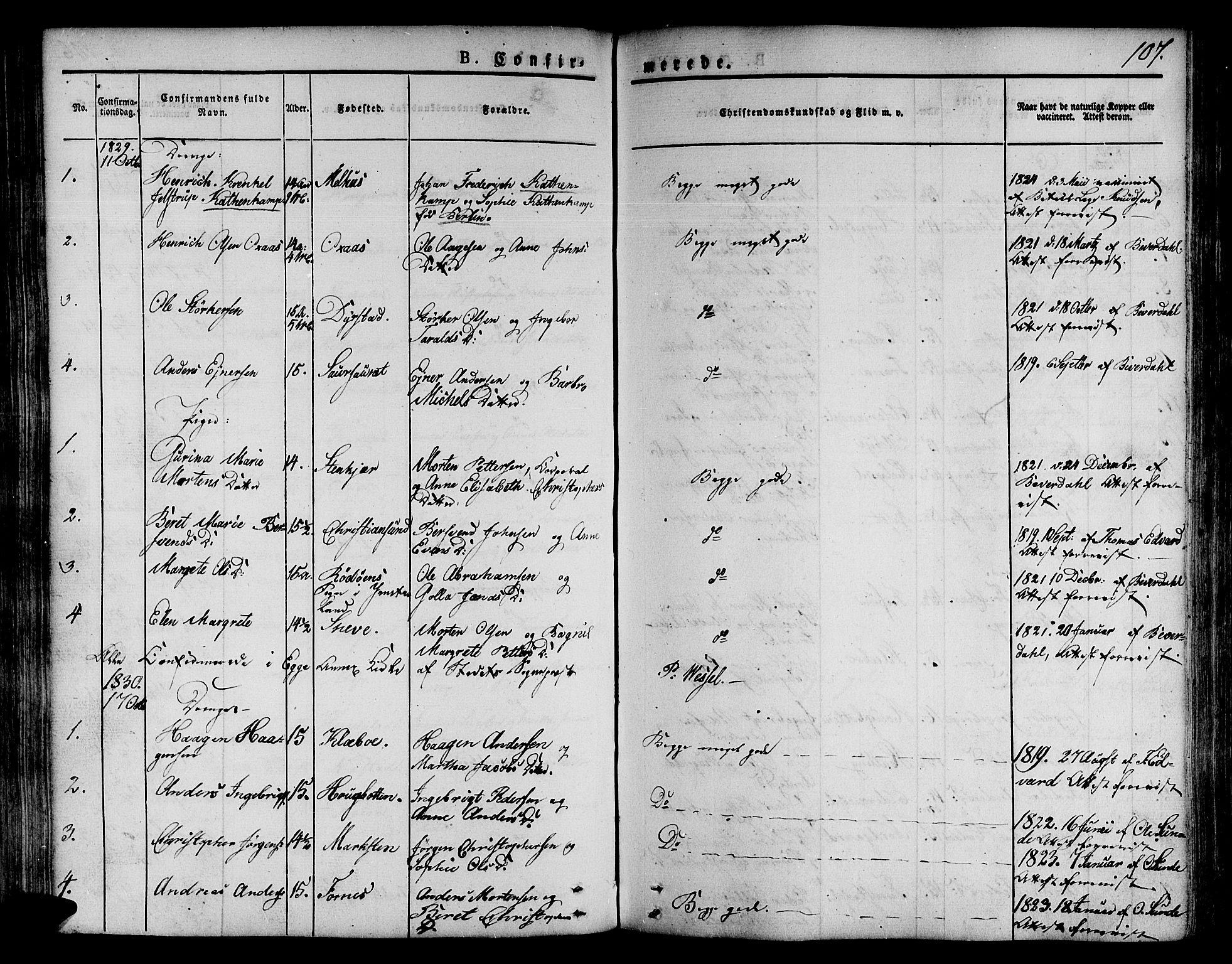 SAT, Ministerialprotokoller, klokkerbøker og fødselsregistre - Nord-Trøndelag, 746/L0445: Ministerialbok nr. 746A04, 1826-1846, s. 107