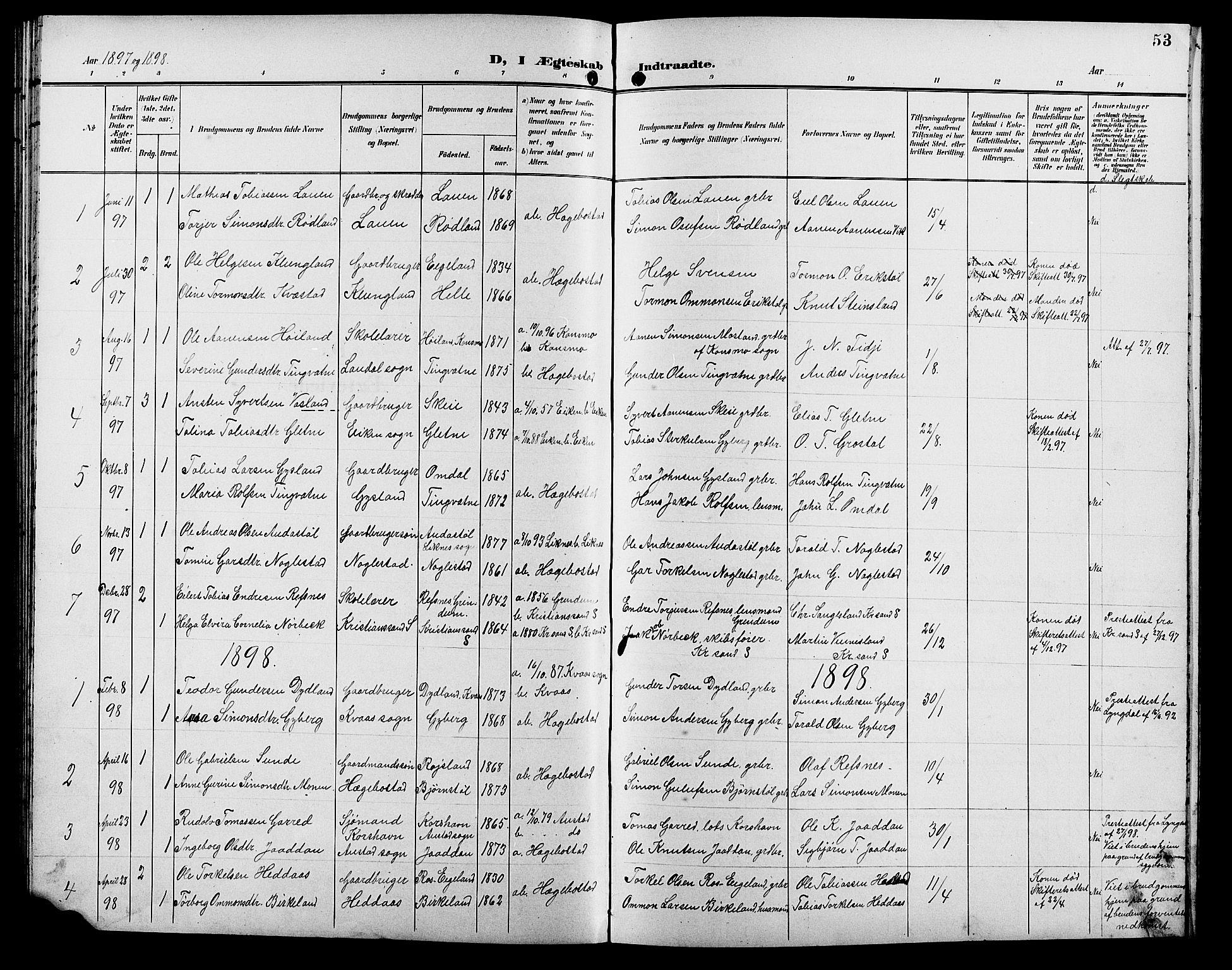 SAK, Hægebostad sokneprestkontor, F/Fb/Fba/L0004: Klokkerbok nr. B 4, 1897-1907, s. 53