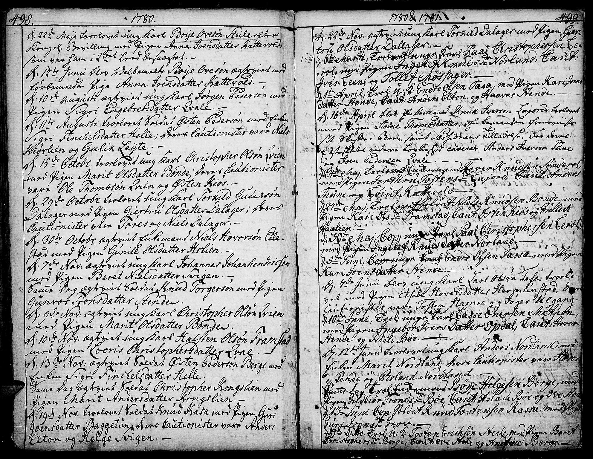 SAH, Vang prestekontor, Valdres, Ministerialbok nr. 1, 1730-1796, s. 498-499