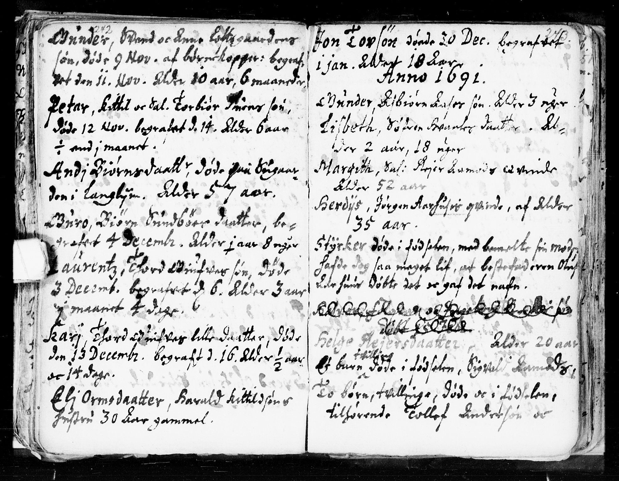 SAKO, Seljord kirkebøker, F/Fa/L0002: Ministerialbok nr. I 2, 1689-1713, s. 242-243