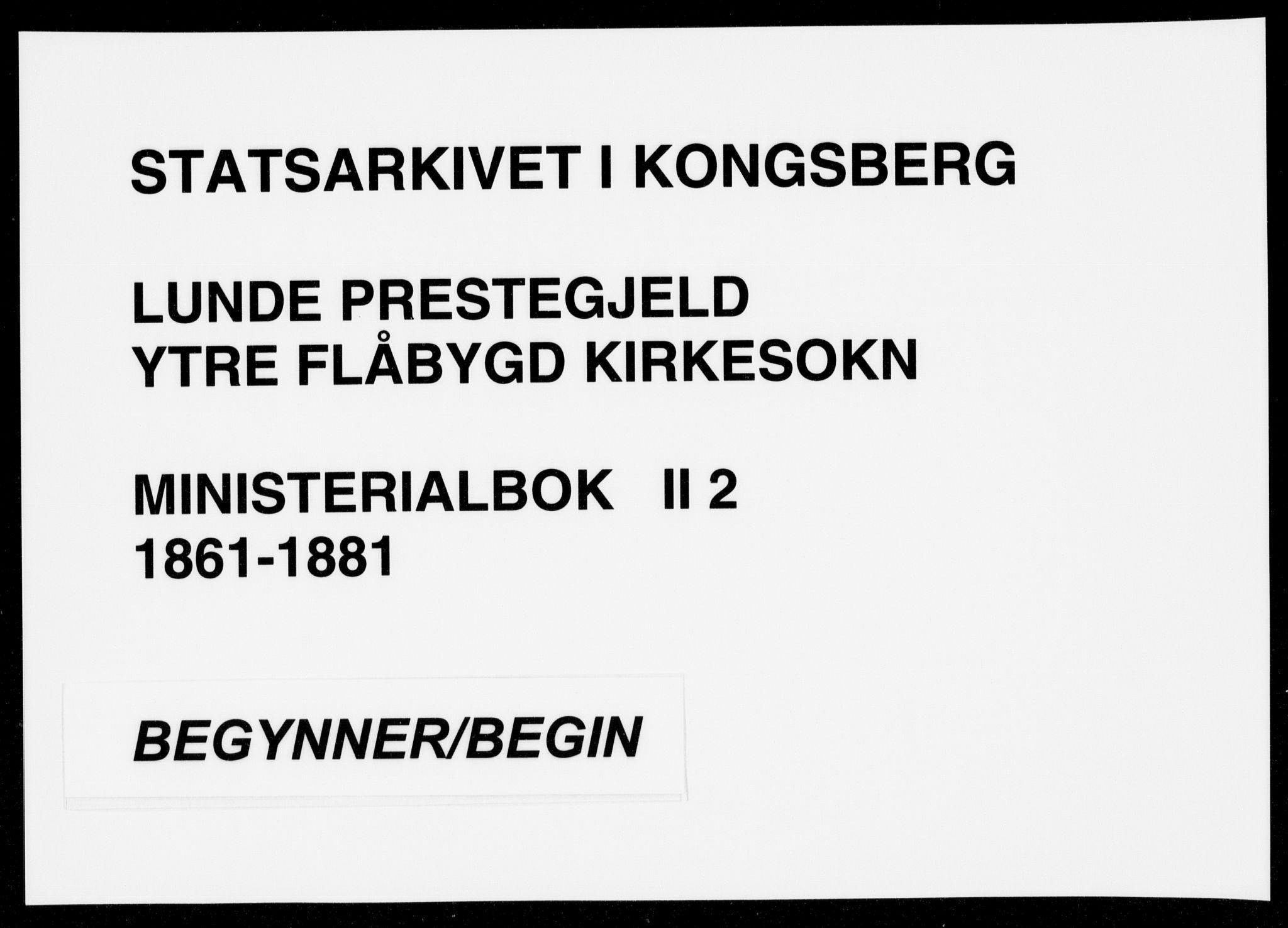 SAKO, Lunde kirkebøker, F/Fb/L0002: Ministerialbok nr. II 2, 1861-1881