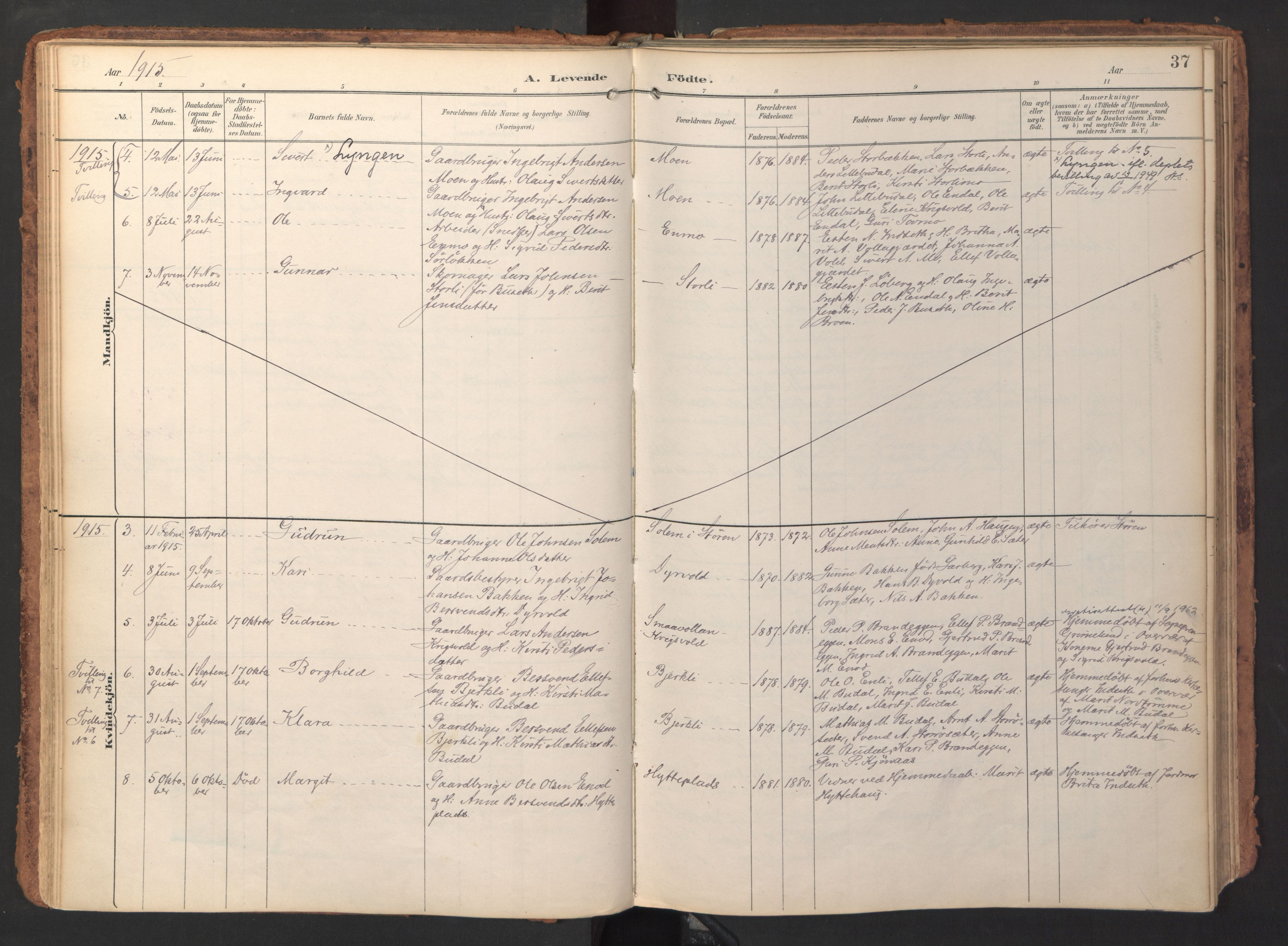SAT, Ministerialprotokoller, klokkerbøker og fødselsregistre - Sør-Trøndelag, 690/L1050: Ministerialbok nr. 690A01, 1889-1929, s. 37