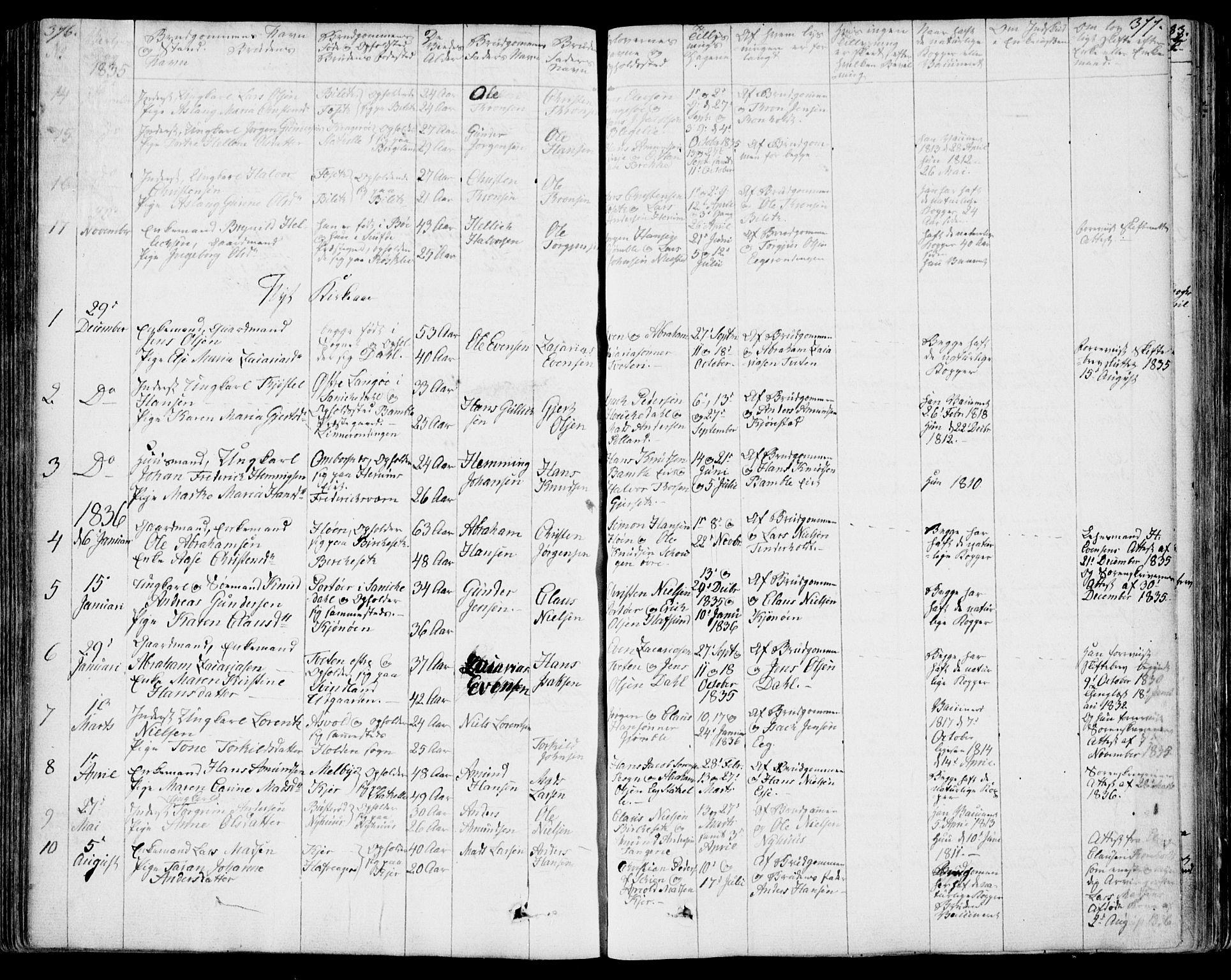 SAKO, Bamble kirkebøker, F/Fa/L0004: Ministerialbok nr. I 4, 1834-1853, s. 376-377