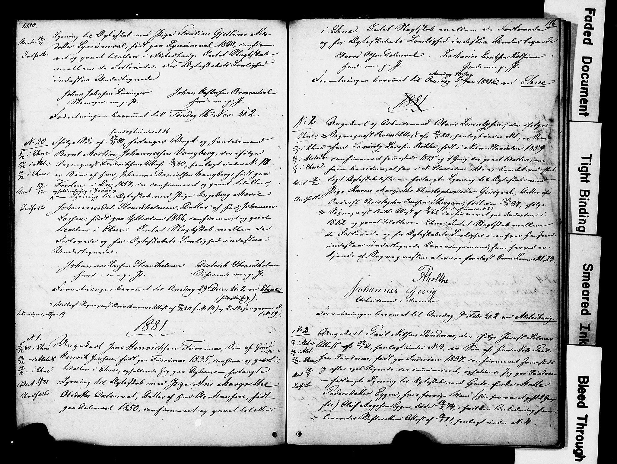 SAT, Ministerialprotokoller, klokkerbøker og fødselsregistre - Nord-Trøndelag, 717/L0161: Forlovererklæringer nr. 717A11, 1850-1895, s. 116